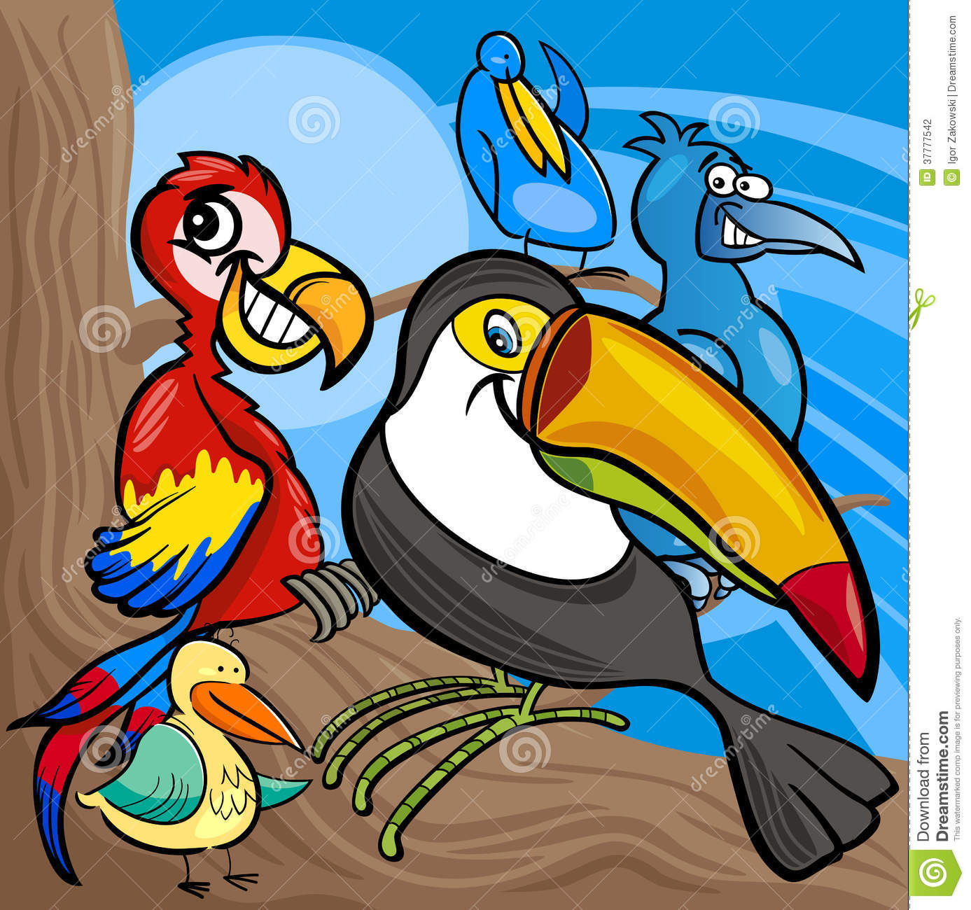 Cute birds group cartoon  Group Of Colorful Birds