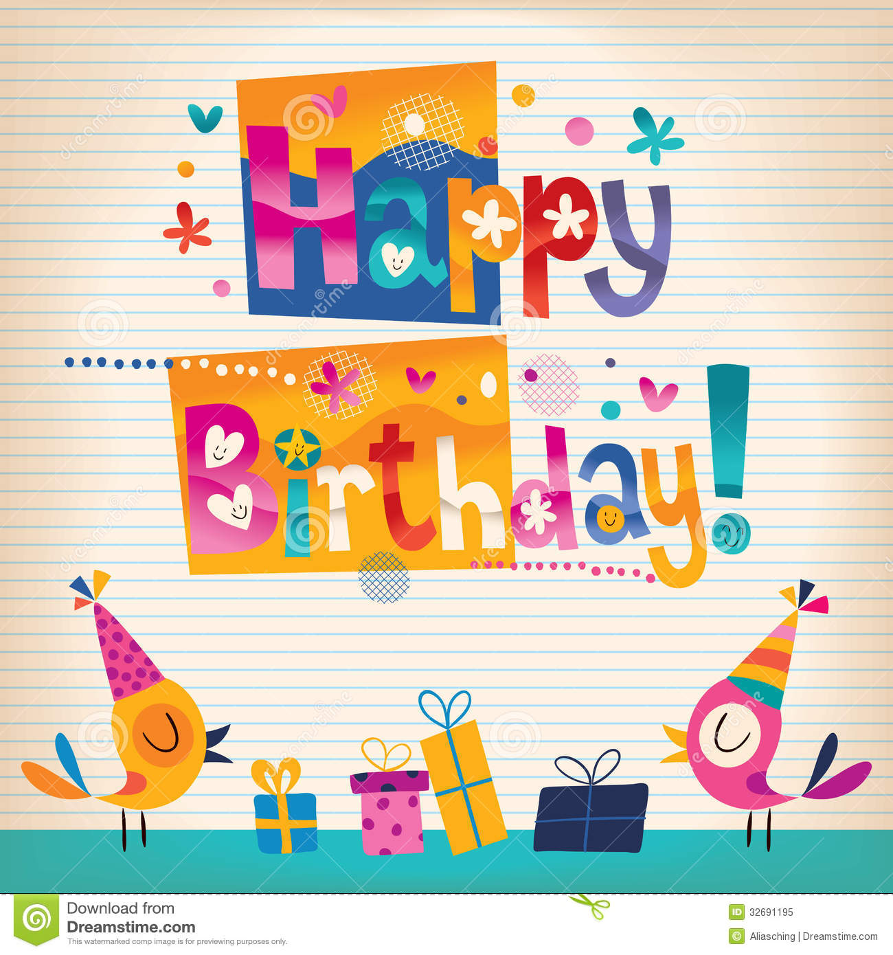 Cute Happy Birthday Card Image Image 36114761 – Unique Happy Birthday Greetings