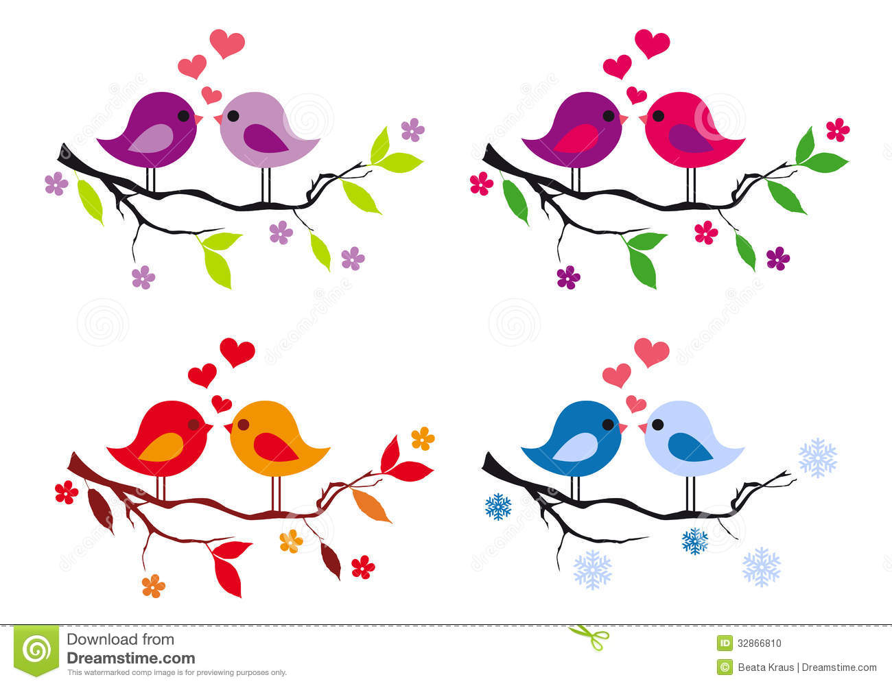 Cute Birds With Red Hearts On Tree, Vector Set Stock Photo - Image ...