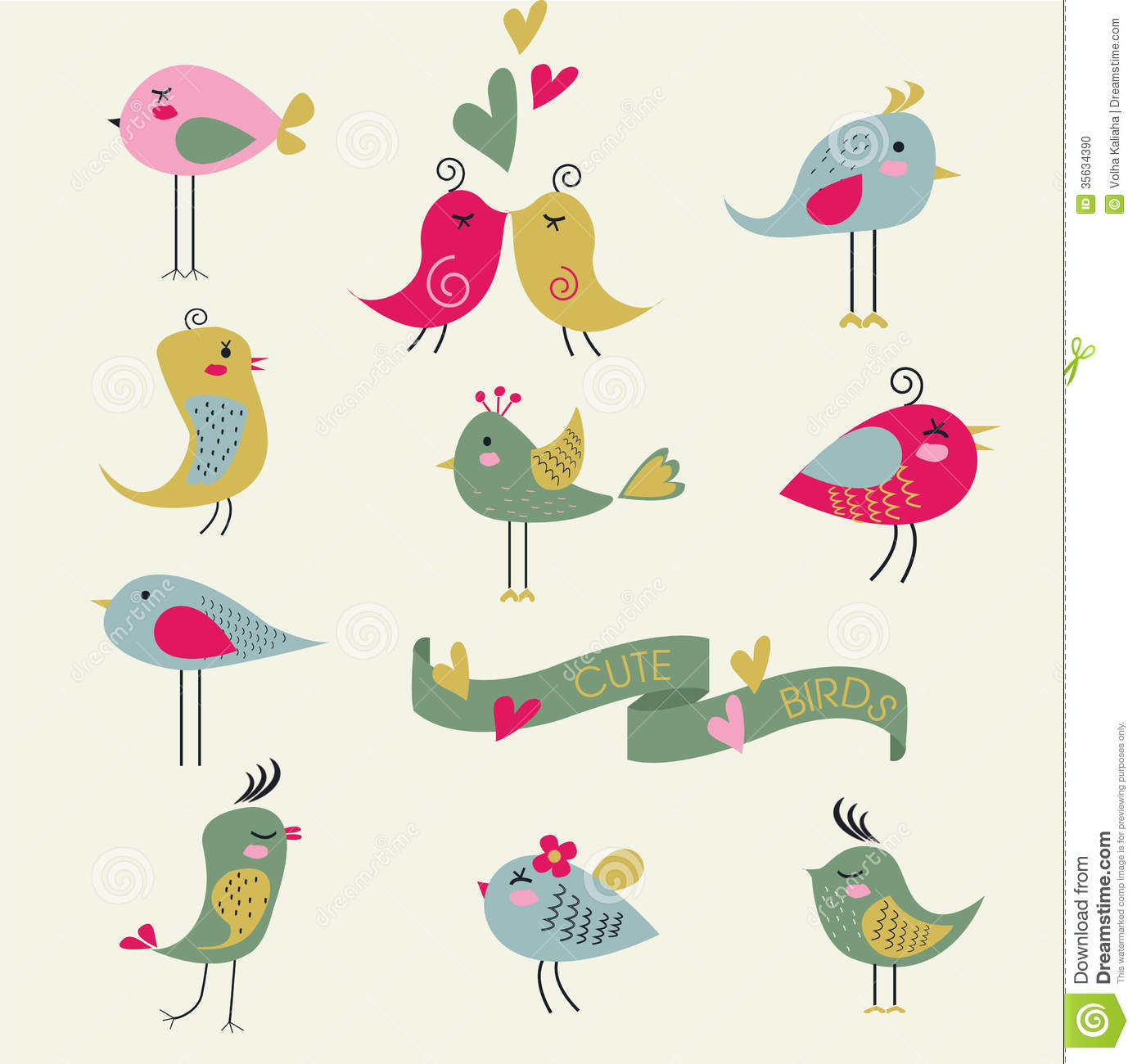 Cute Birds Stock Photo Image 35634390