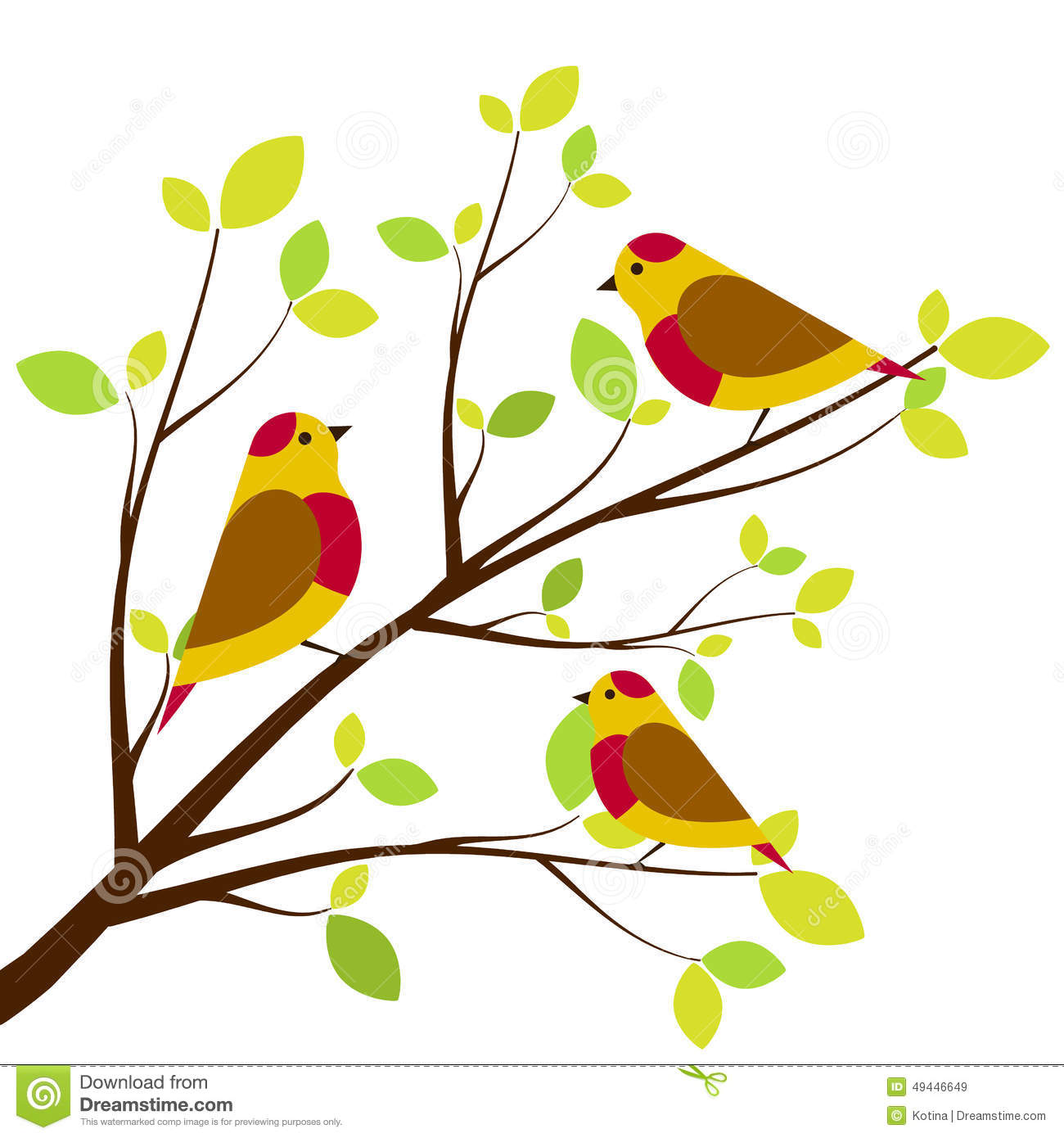 cute birds sitting on branches stock illustration image