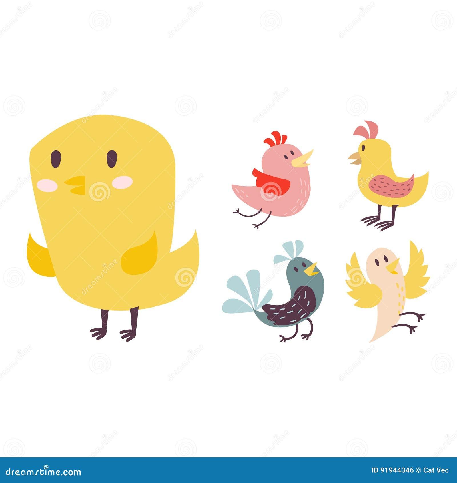 Cute Birds Vector Set Illustration Cartoon Colorful Stock