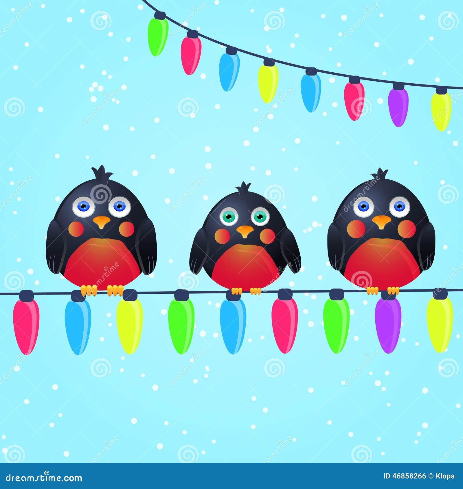 Cute birds on wire with christmas light bulbs stock vector