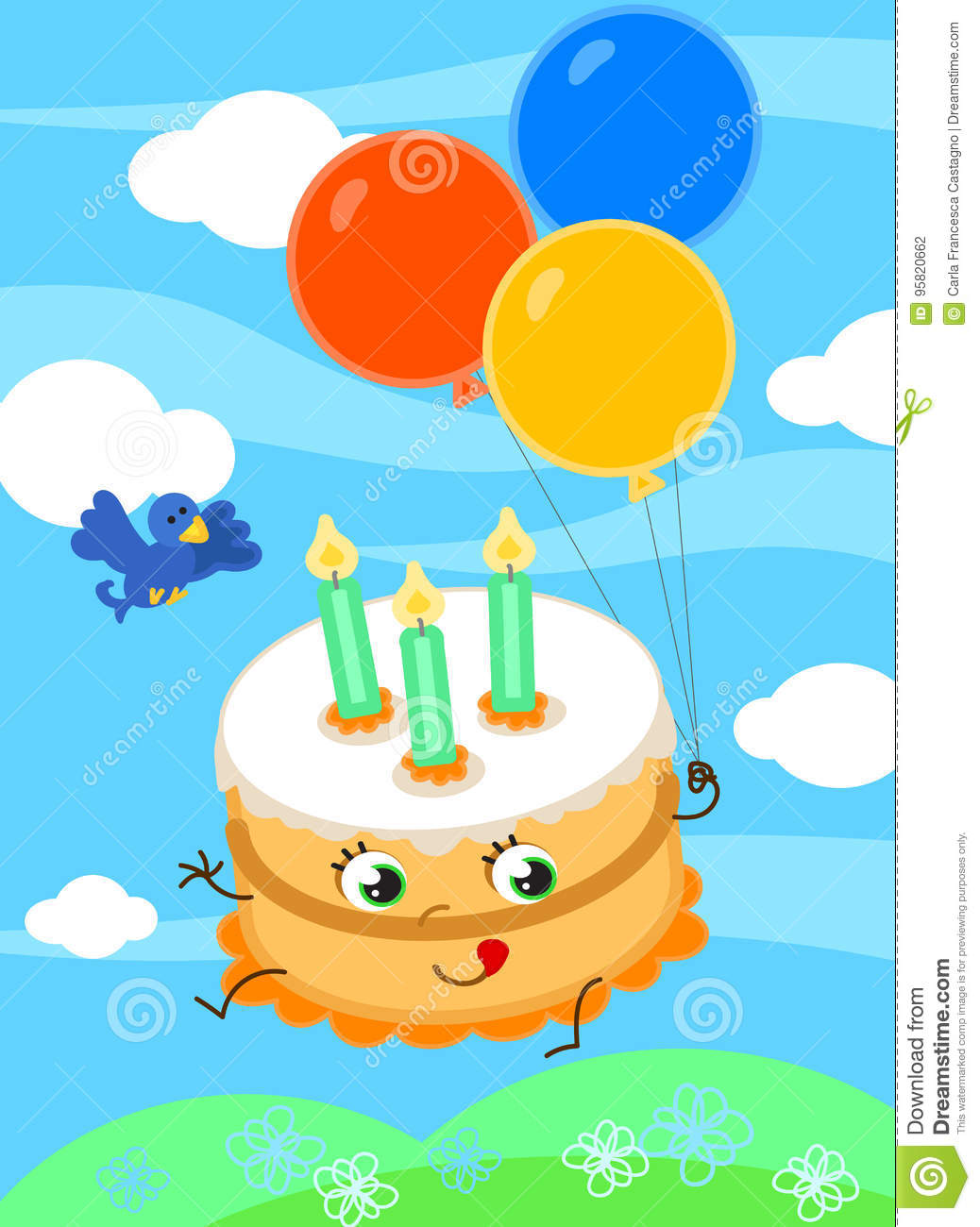 Cute Birthday Cake With Balloons Vector Stock Vector Illustration