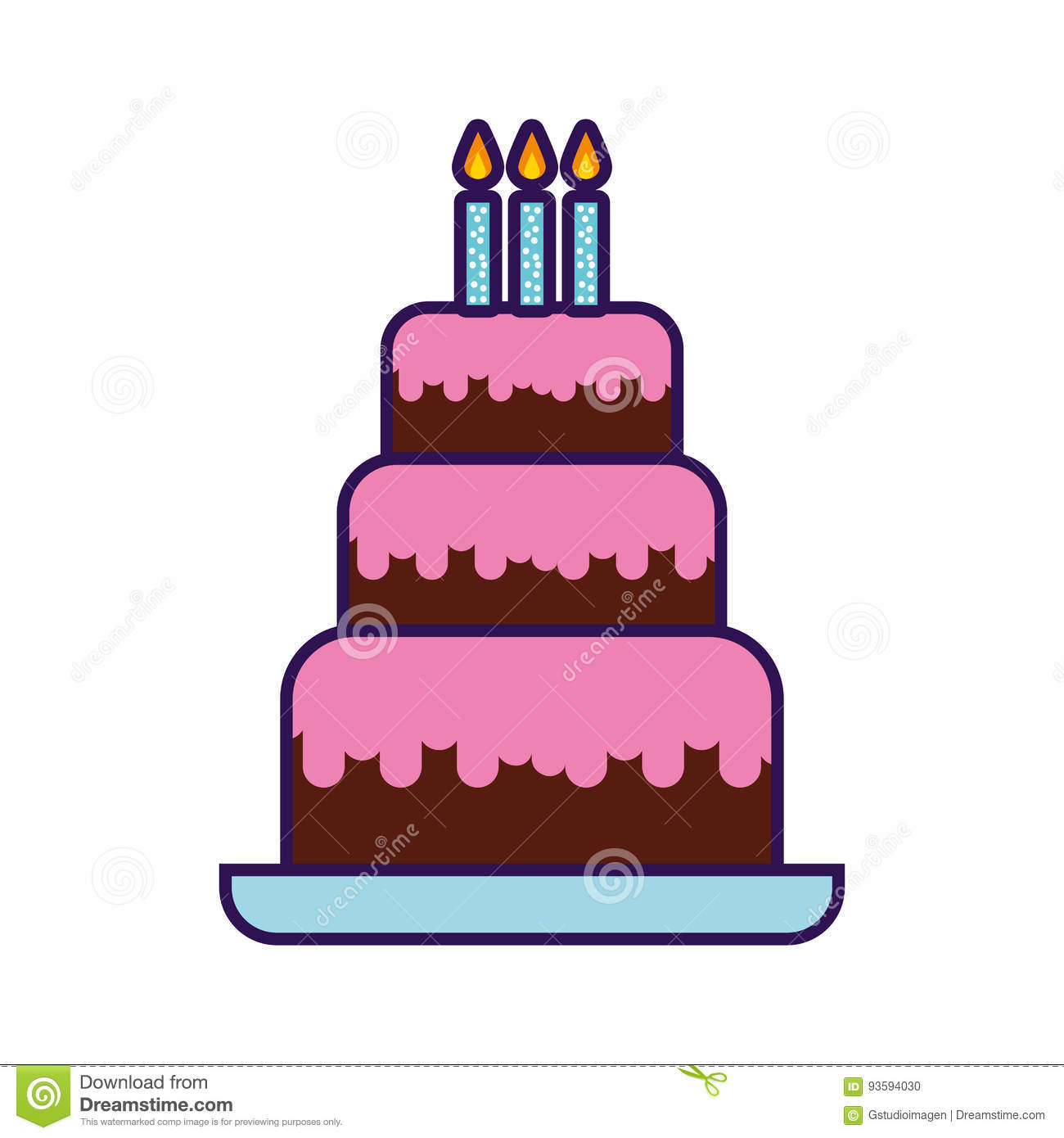 Cute Birthday Cake Cartoon Vector Graphic Design