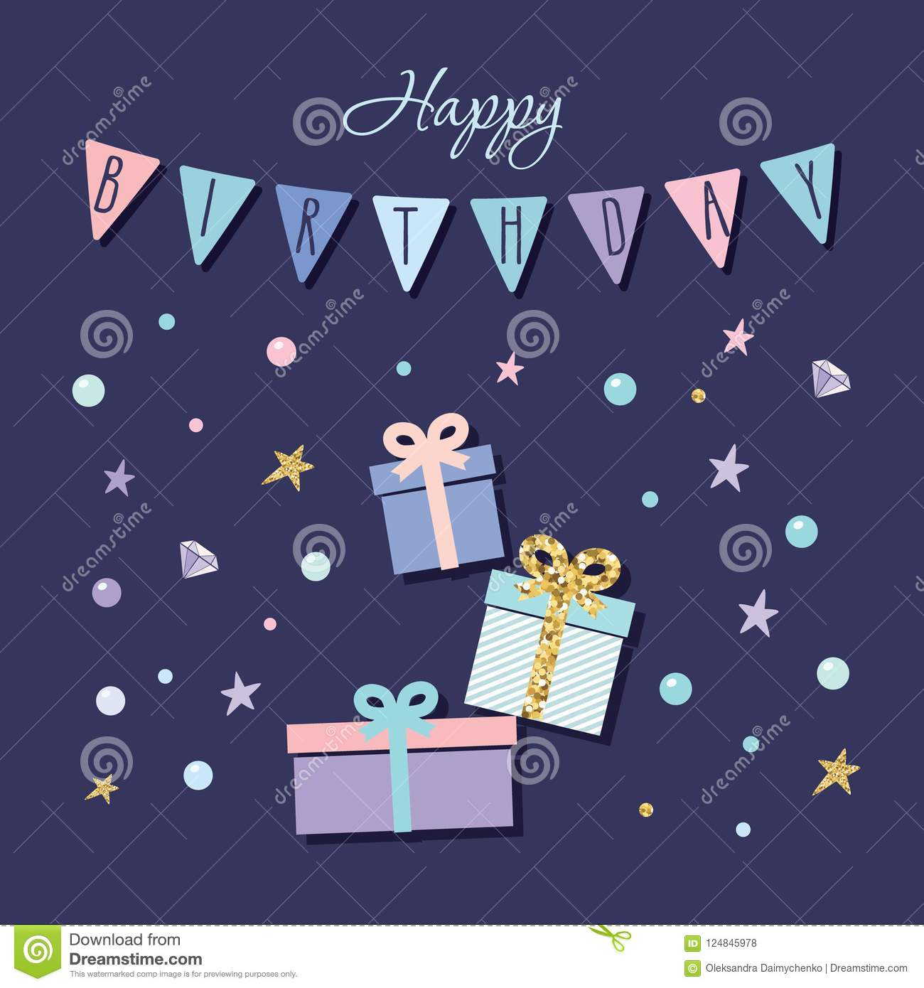 Cute Birthday Card With Present Boxes Garland And Confetti Stock