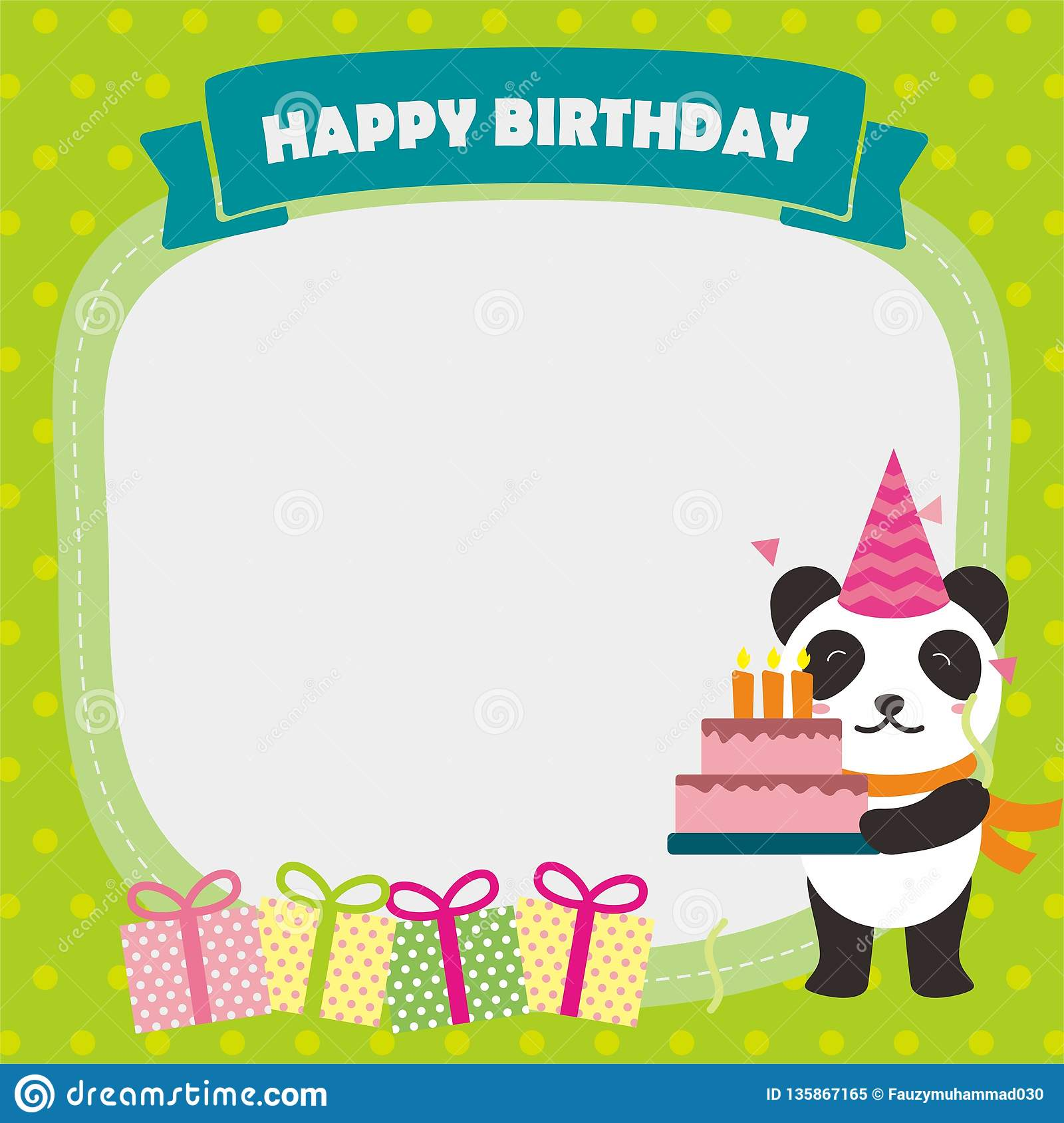 Cute Birthday Card Template With Panda Character Stock Vector Illustration Of Gift Hats 135867165