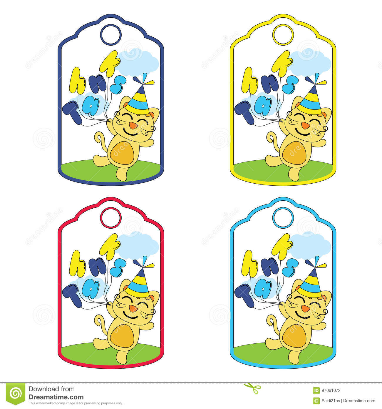 Cute birthday gift tags vector cartoon with cute cat brings balloons suitable for birthday tags design