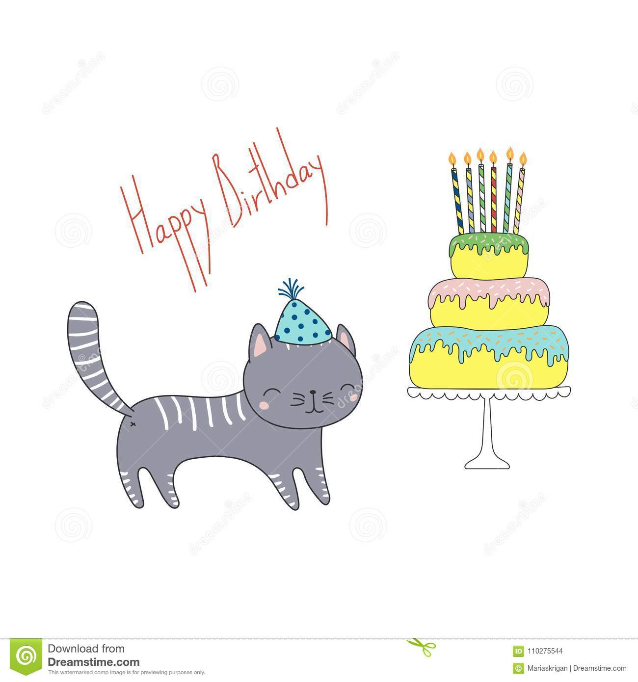 Cute Birthday Greeting Card With A Cat Stock Vector Illustration