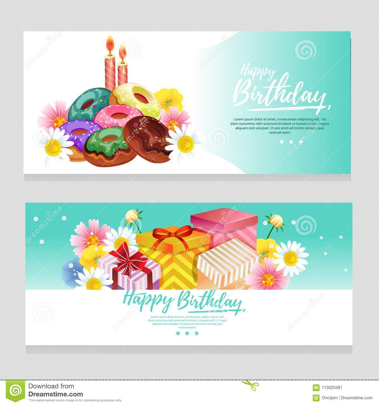 Cute Birthday Theme Banner With Turquoise Color And Gift Box Stock