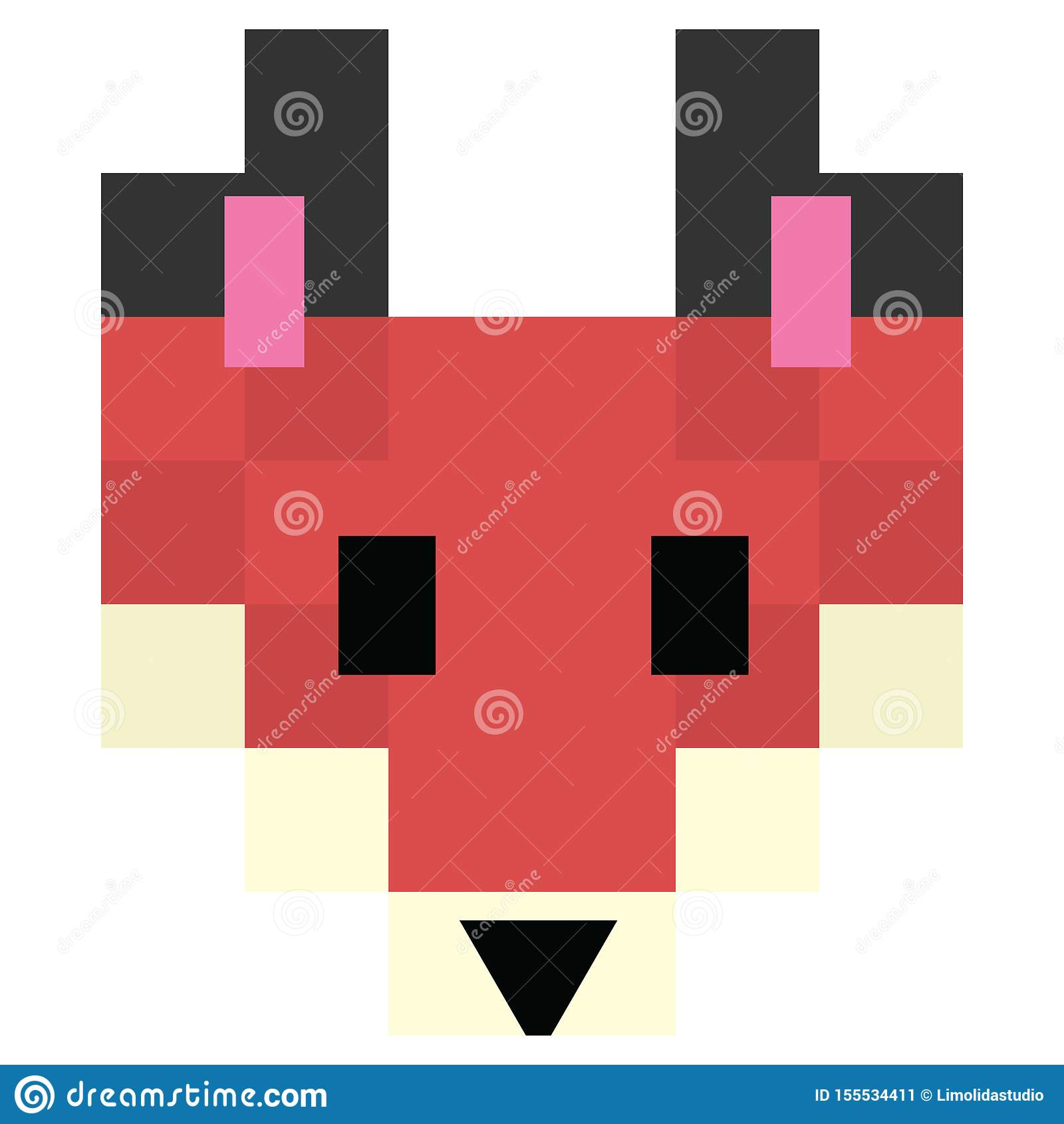 Cute 8 Bit Forest Fox Vector Illustration Woodland Canine