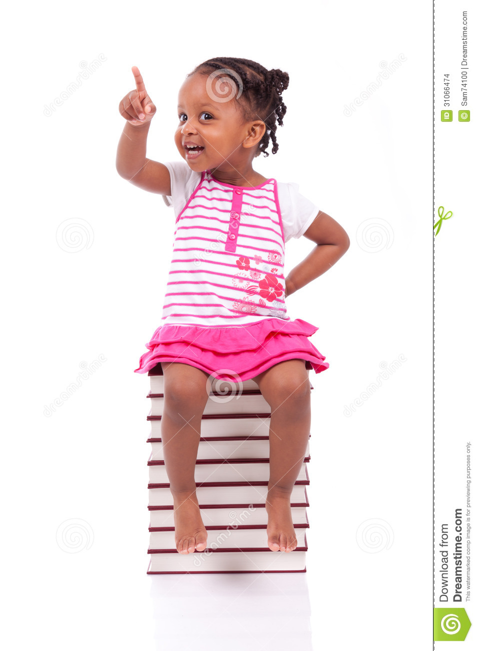 Download Cute Black African American Little Girl Seated In A Stack Of Boo Stock Photo - Image of knowledge, pink: 31066474