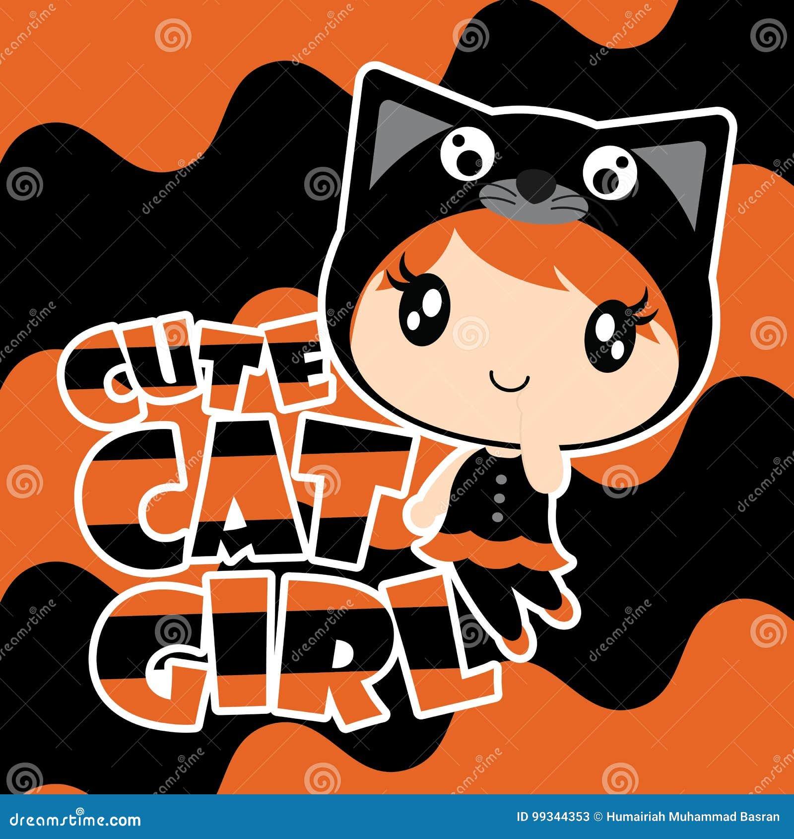 Cute Black Cat Girl On Wave Background Cartoon Illustration For Halloween Card Design Stock Vector Illustration Of Party Celebration 99344353