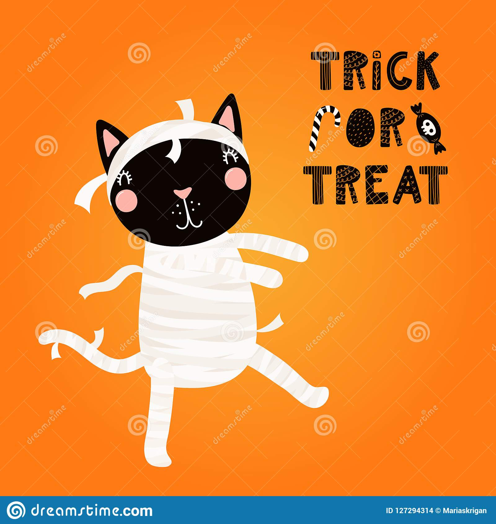 cute black cat in halloween costume stock vector - illustration of