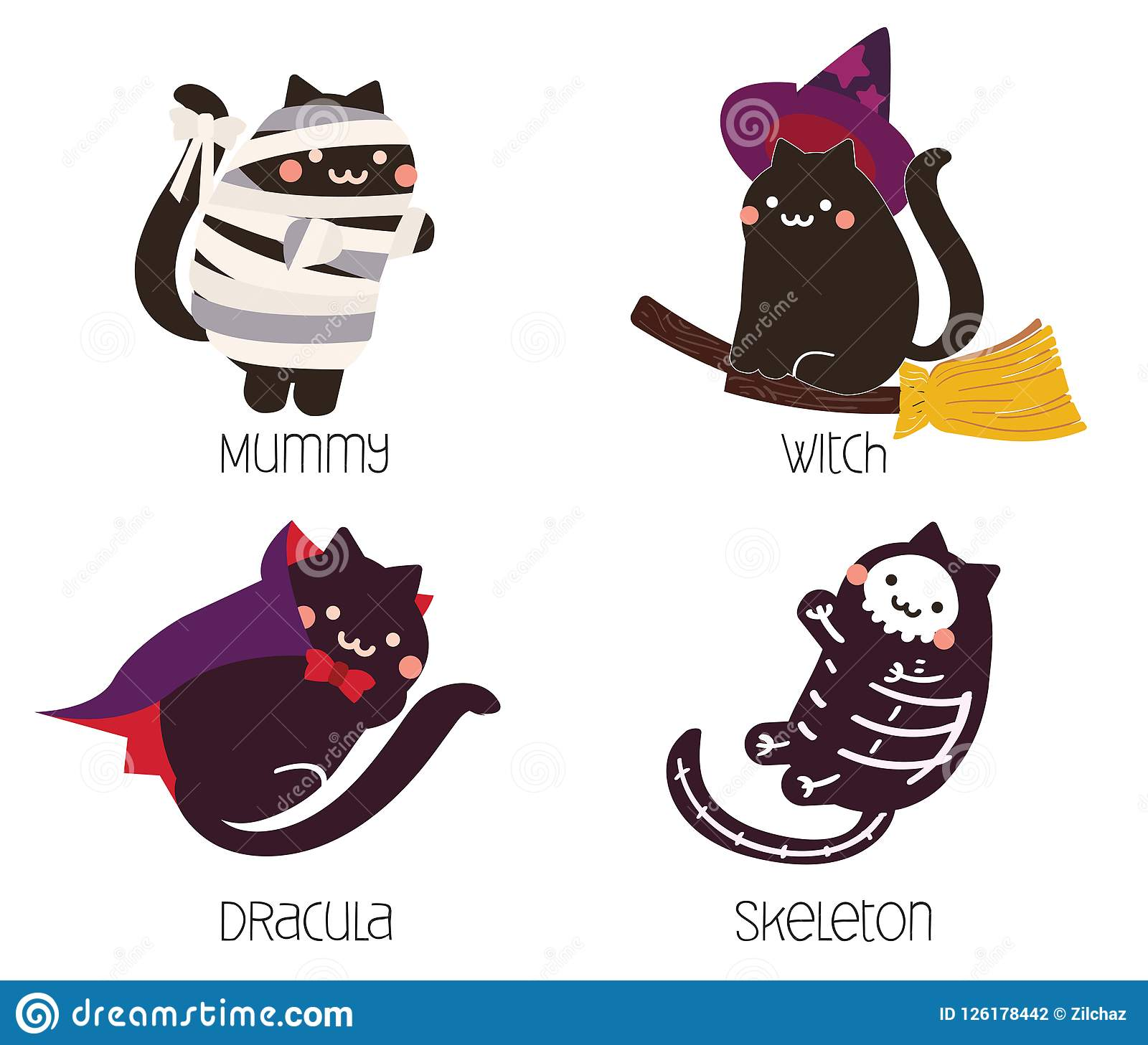 cute black cat in halloween costume; mummy, witch, dracula, skeleton