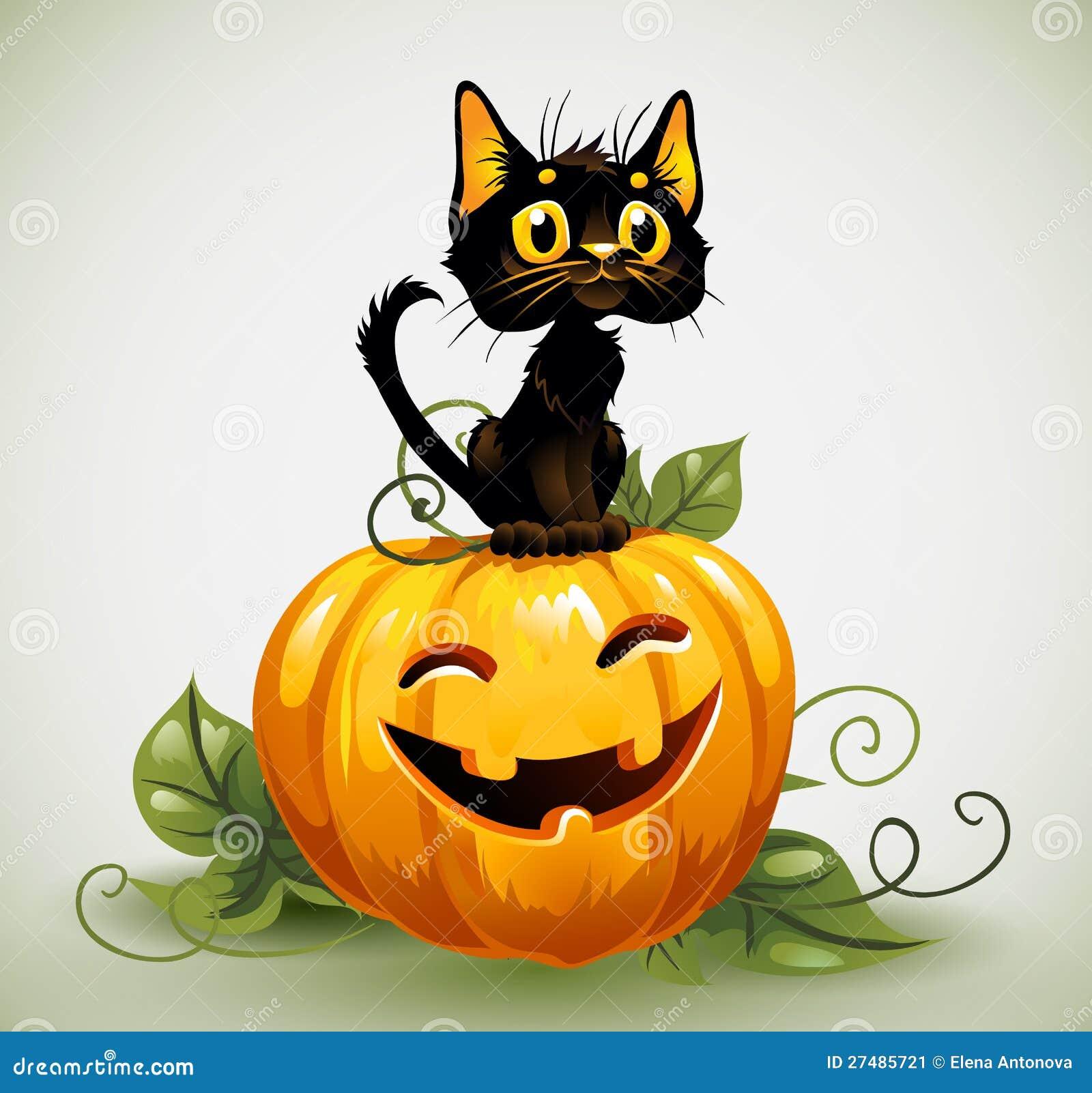 A Cute Black Cat On A Halloween Pumpkin. Stock Vector ...