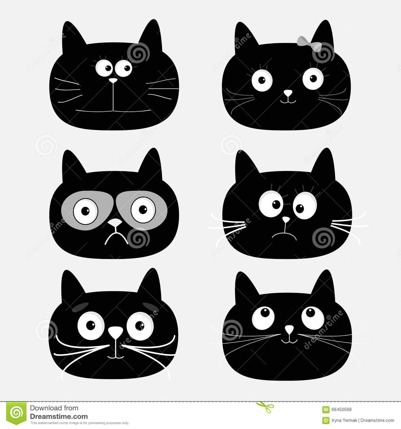 black and white cat characters cute black cat head set. funny cartoon characters. white
