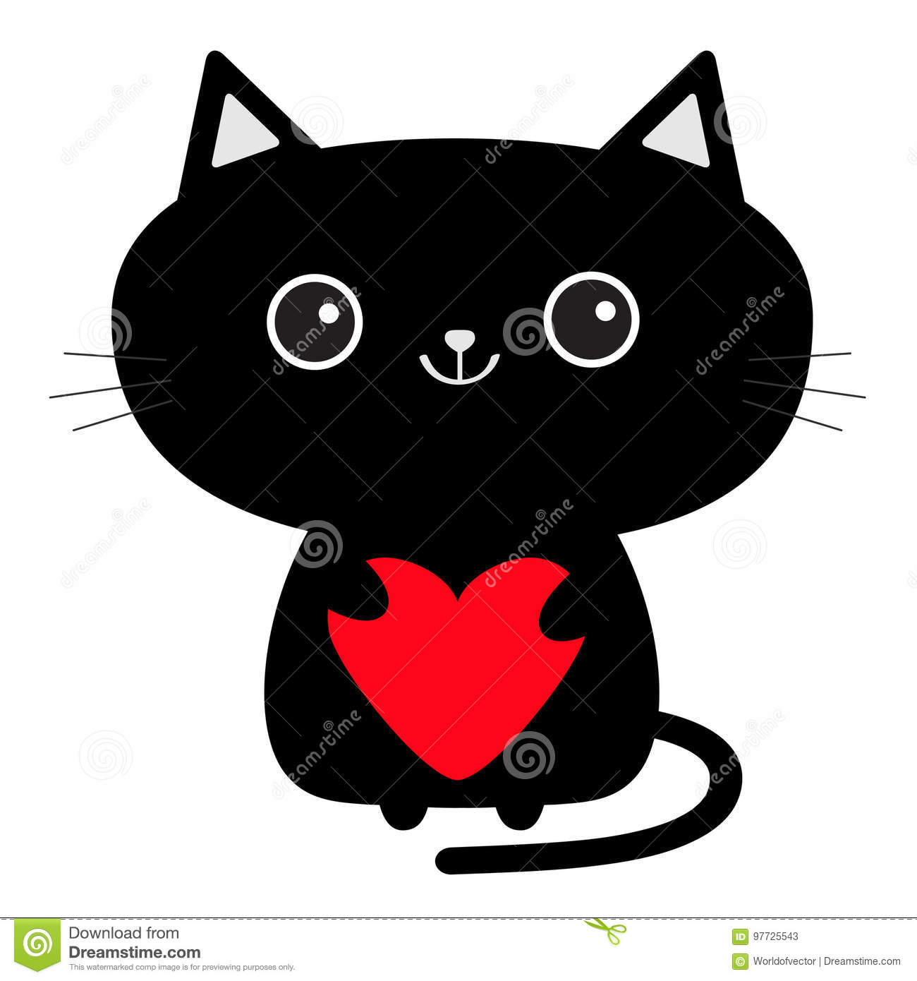 Cartoon Cat With Red Eyes
