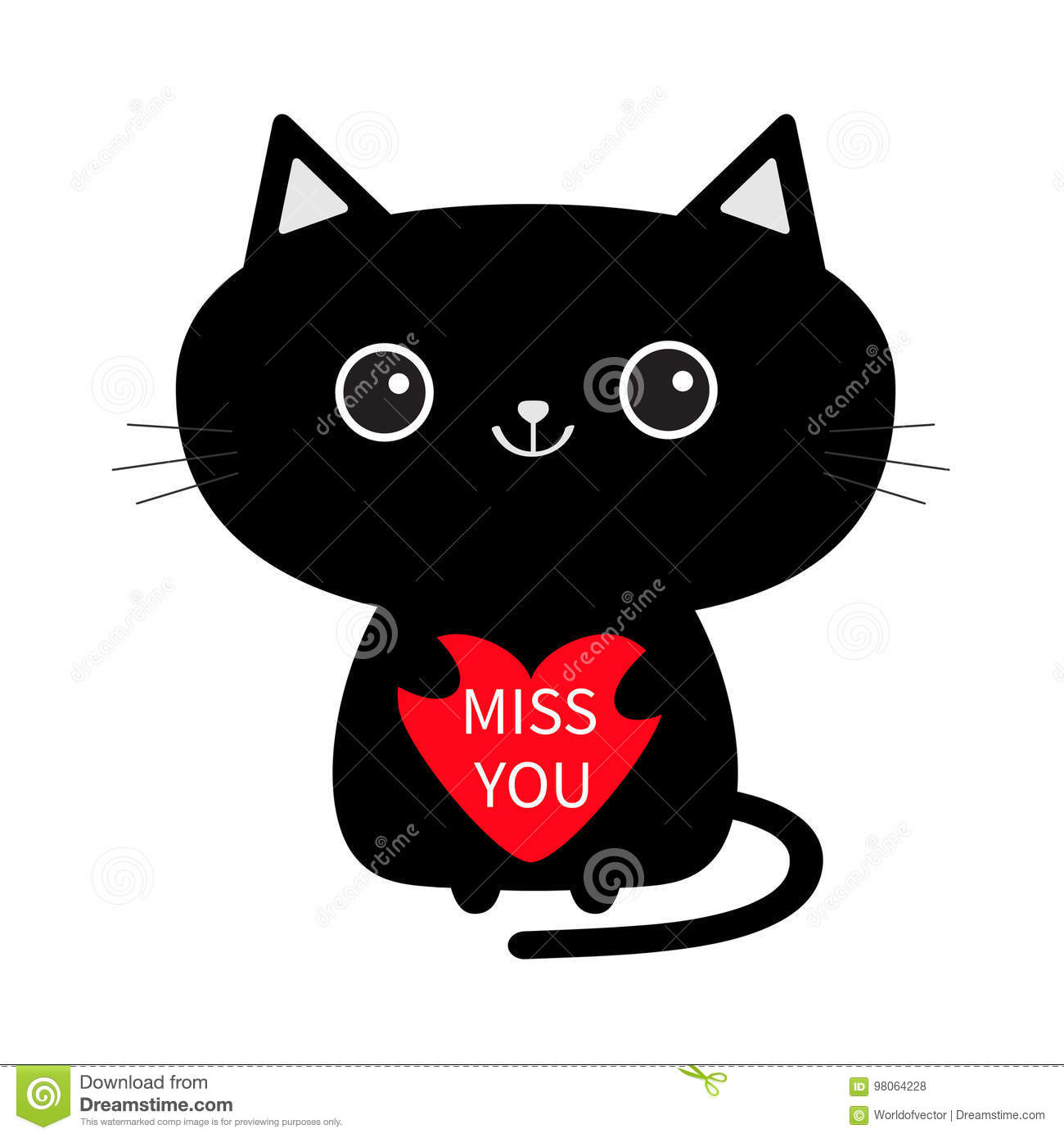 Cute Black Cat Icon Holding Red Heart Miss You Funny Cartoon