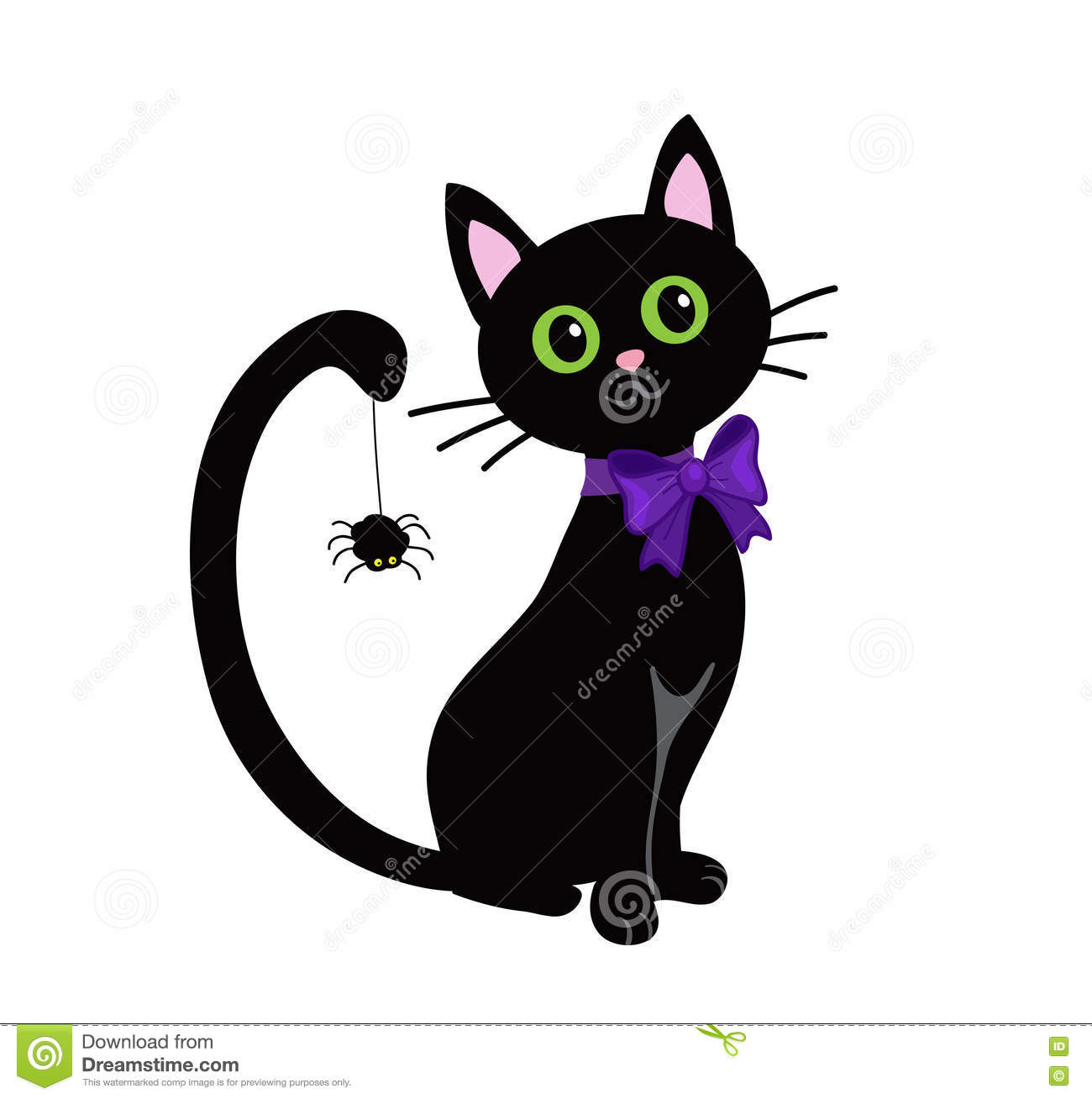 Cute Black Cat Isolated On White Background.Halloween ...