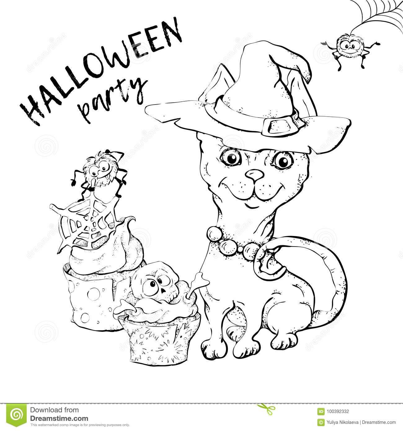 download cute black kitten and dog wearing funny and fancy halloween hats laying with an illuminated