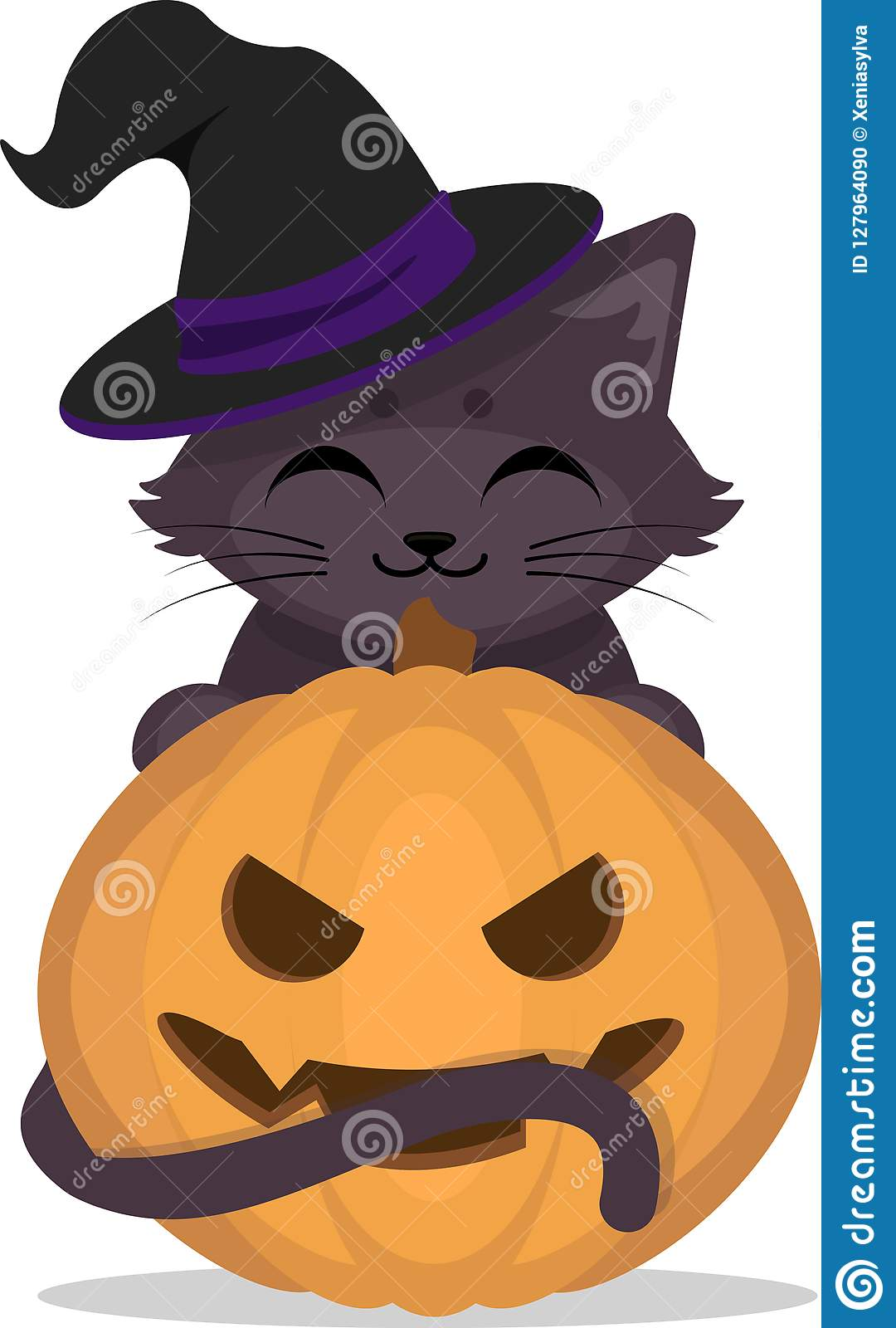 d73a2367 Cute Black Kitten In Witch Hat With Halloween Pumpkin. Stock Vector ...