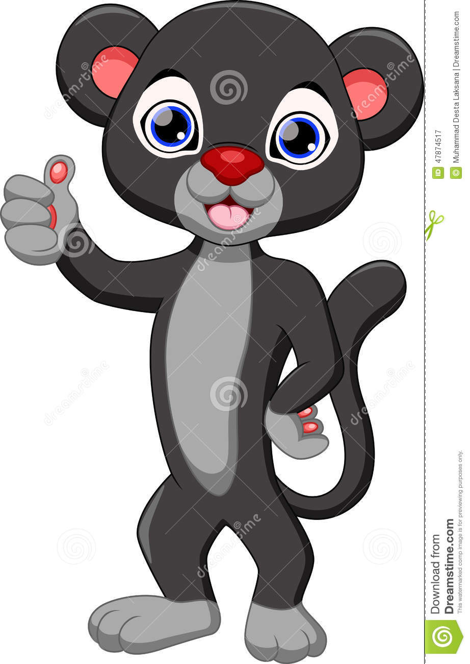 Cute Black Panther Cartoon Stock Illustration - Image: 47874517