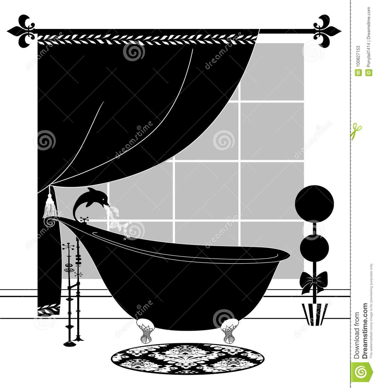 Cute Black And White Drawing Of A Bathroom With Vintage