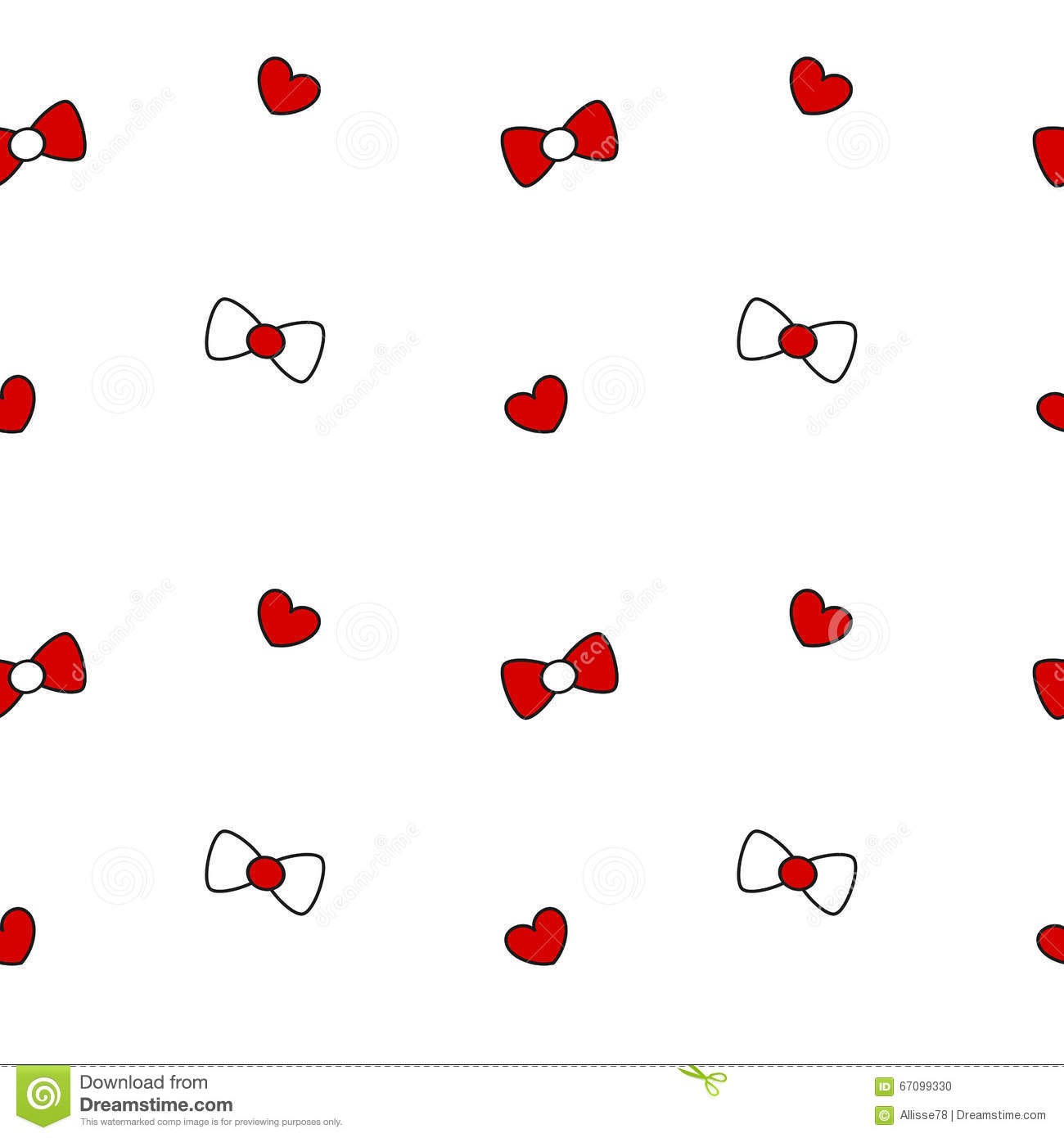 cute black white red bow ribbon and heart seamless pattern