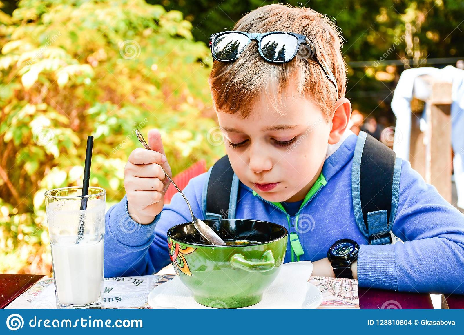 Child eating a soup