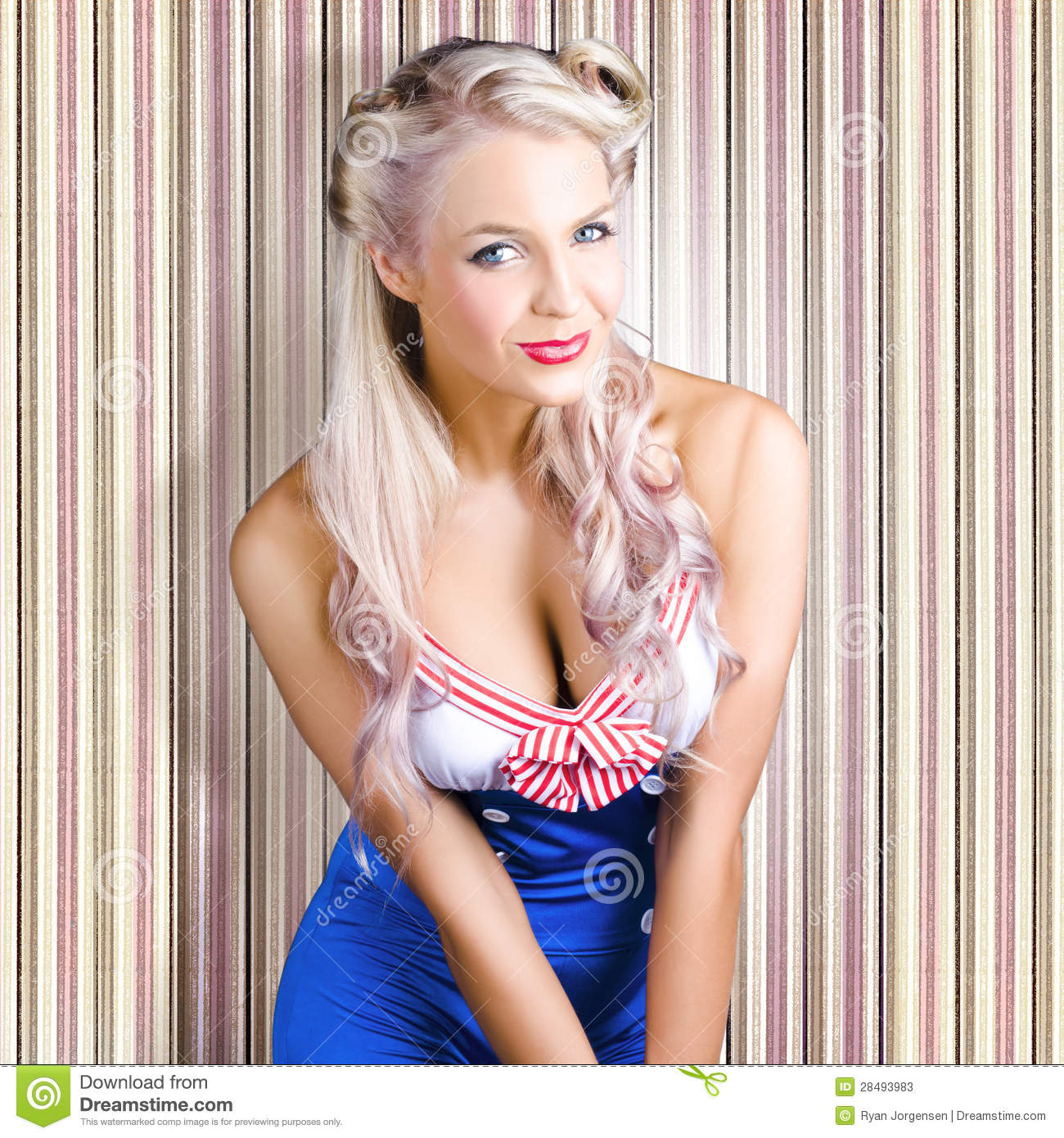 Cute Blonde Pin-Up Girl With Cheeky Smile Stock Photos ...