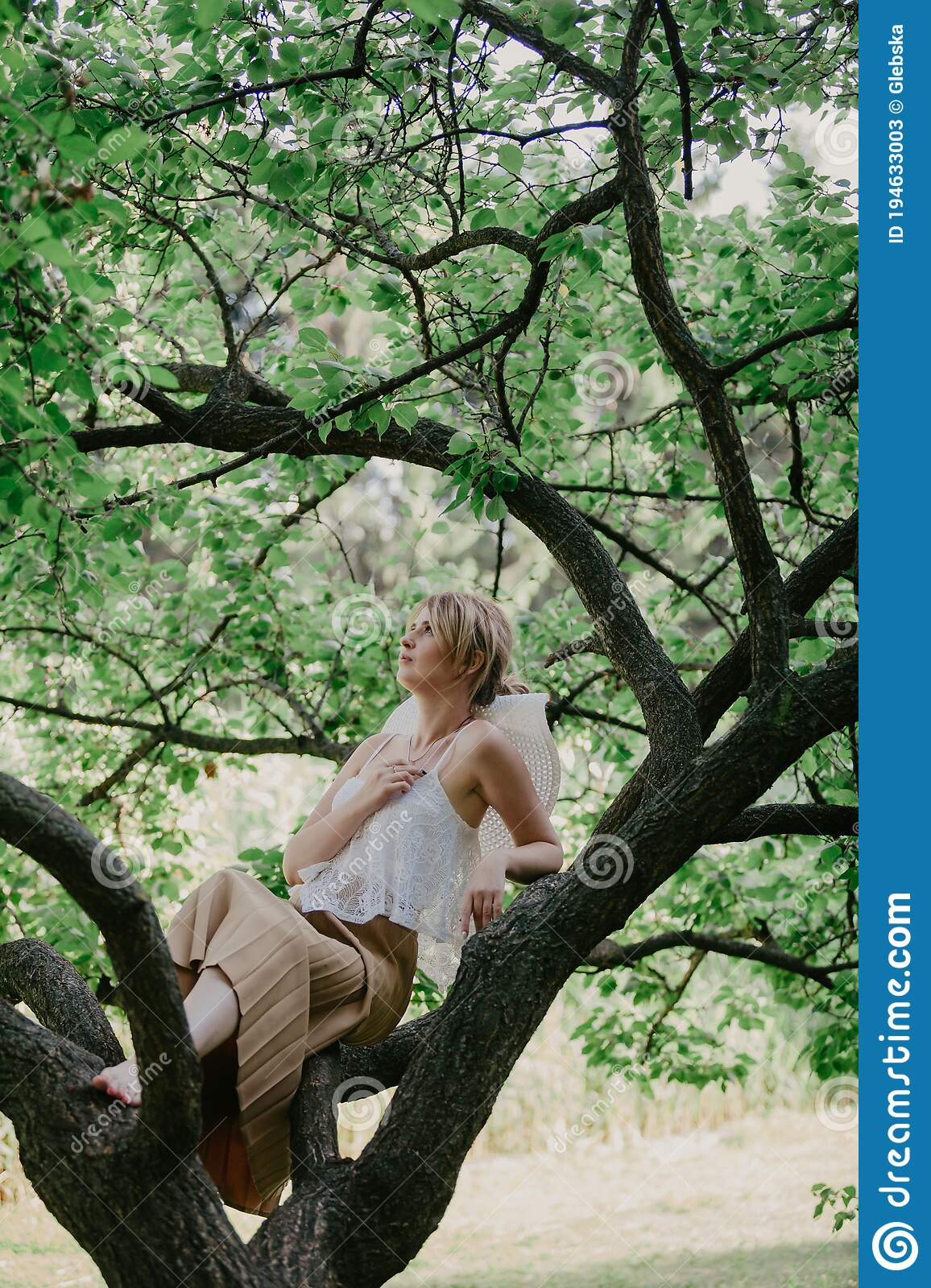 https://thumbs.dreamstime.com/z/cute-blonde-sits-tree-portrait-nature-slim-stylish-girl-white-top-sitting-branch-summer-day-194633003.jpg