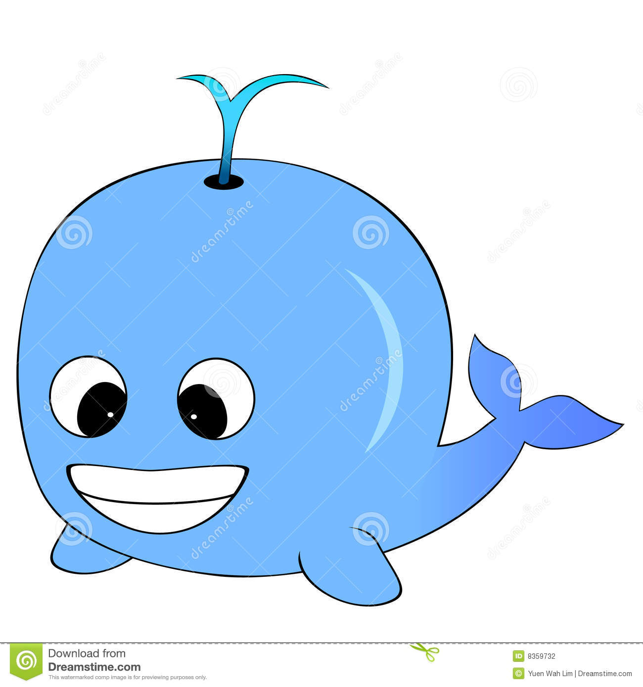Cute Looking Blue Cartoon Whale Spurting Water On It's back.