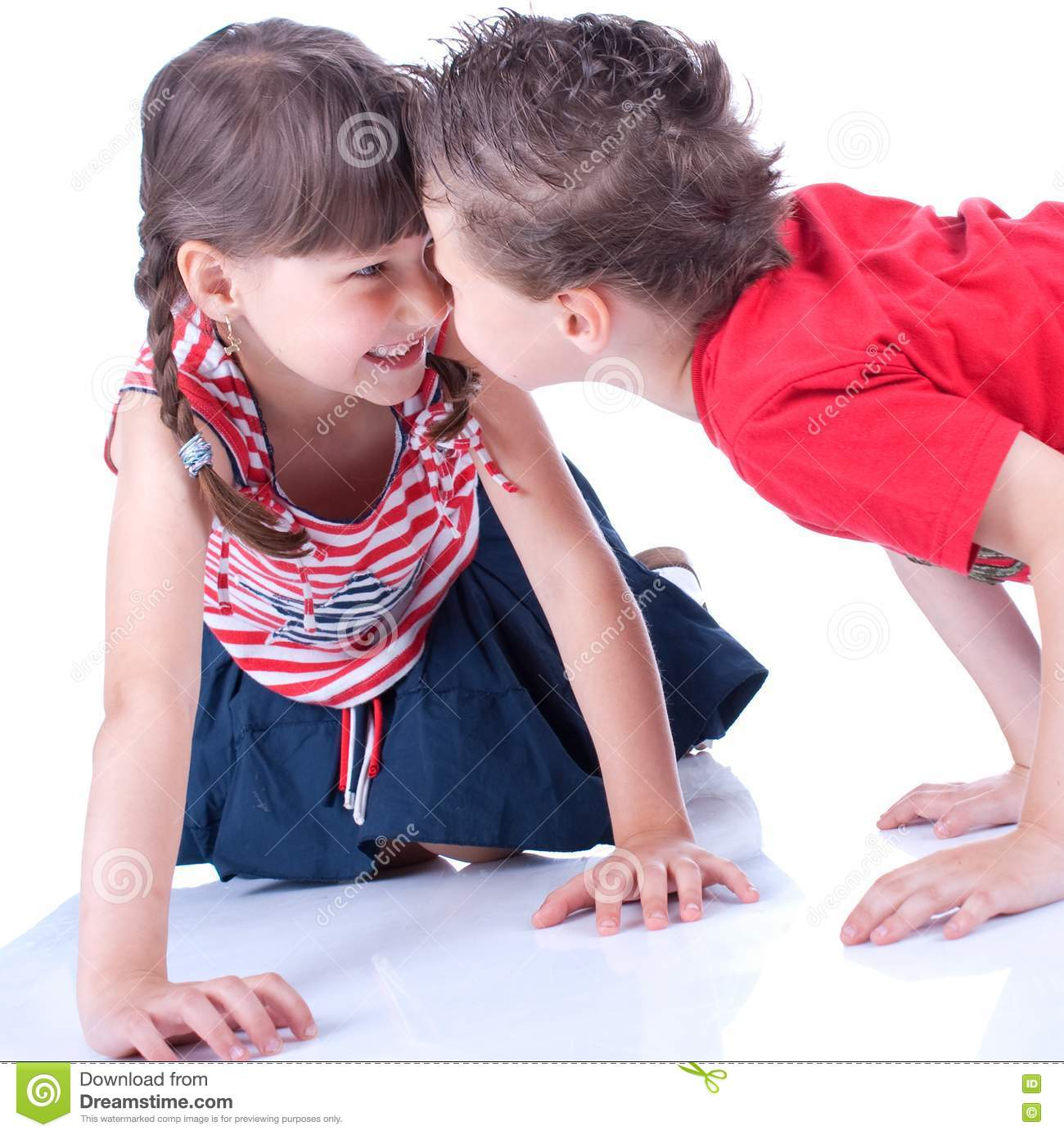 Cute Blue-eyed Boy And Girl Are Playing Stock Image