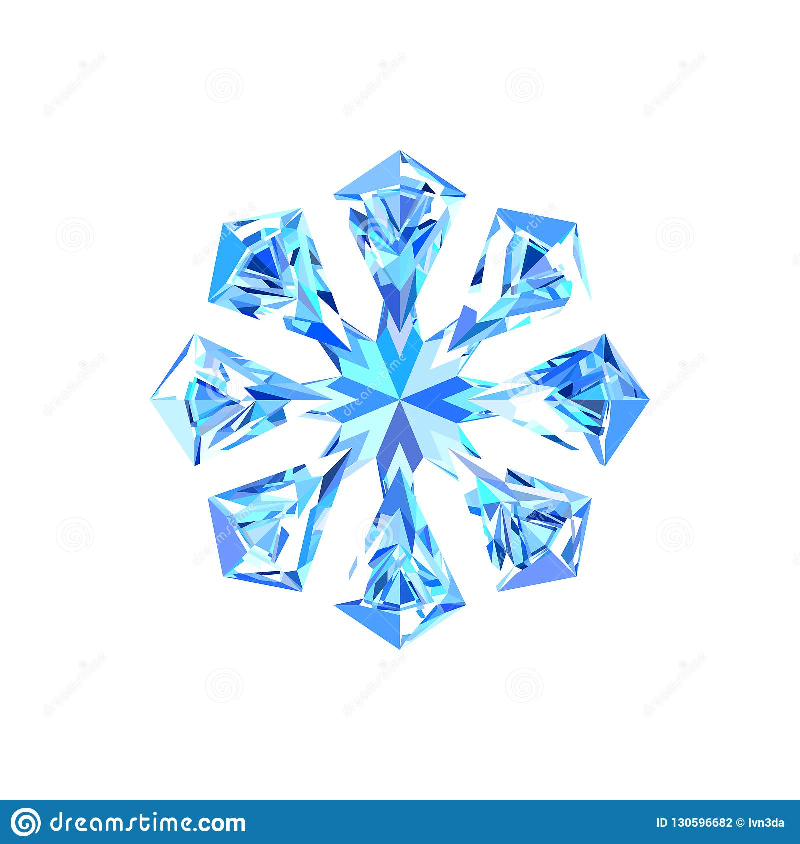 Cute blue ice snowflake stock vector. Illustration of ...