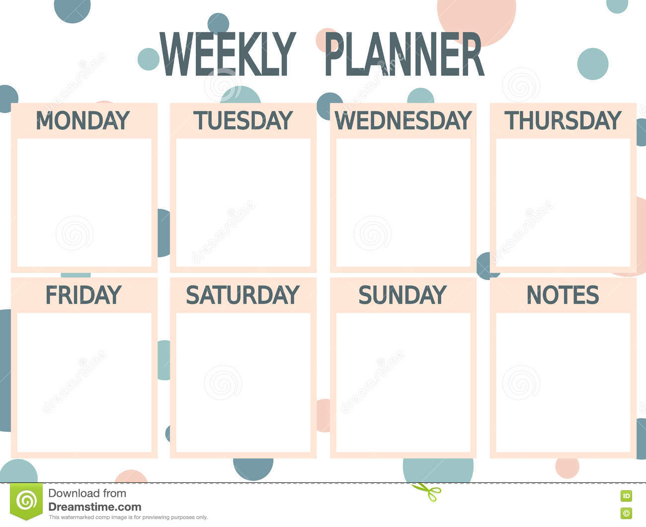 photo relating to Cute Weekly Planner Printable known as Lovely Blue Red Printable Weekly Planner With Circles Inventory