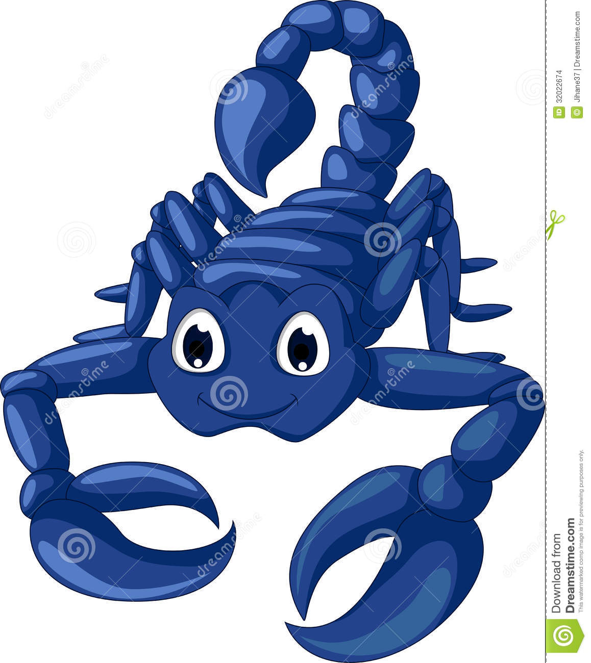 Cute blue scorpion cartoon stock illustration. Image of ...