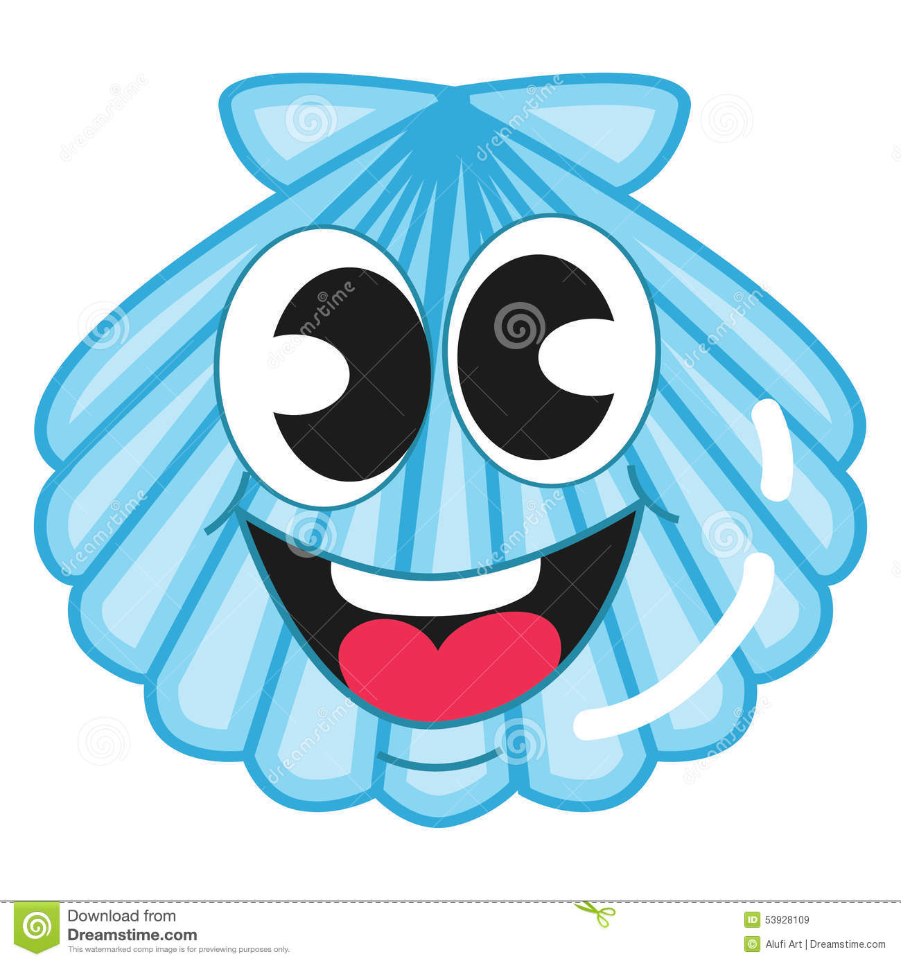 Cute Blue Shell Stock Vector Image 53928109