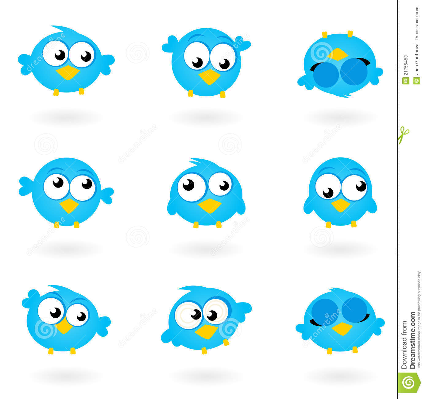 Cute Blue Vector Twitter Birds Icons Collection. Stock Photos - Image ...