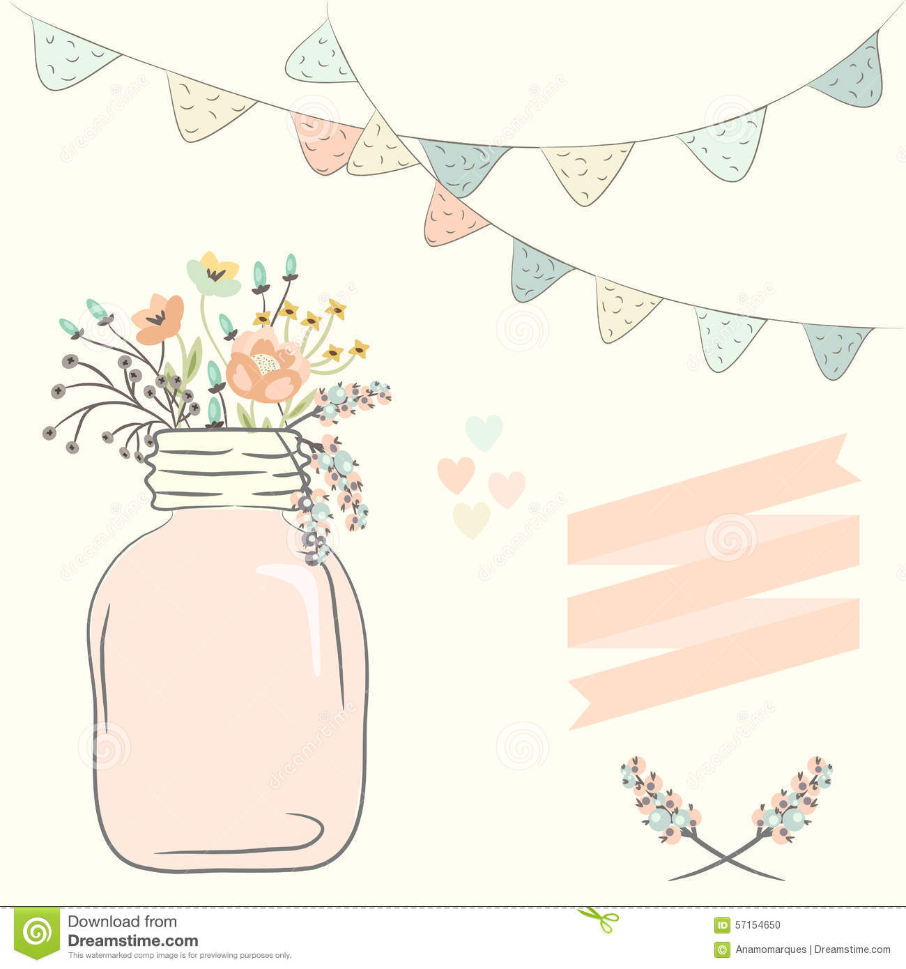 Cute Bouquet Of Wedding Flowers In A Glass Jar. Vector ...