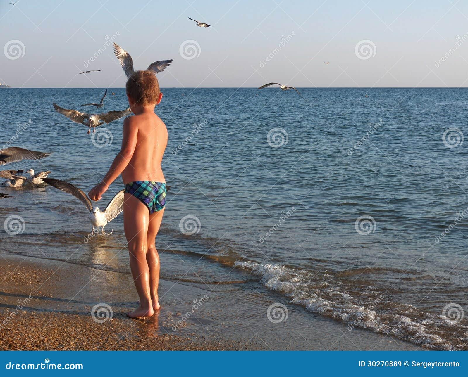 Cute boy on the beach stock im...