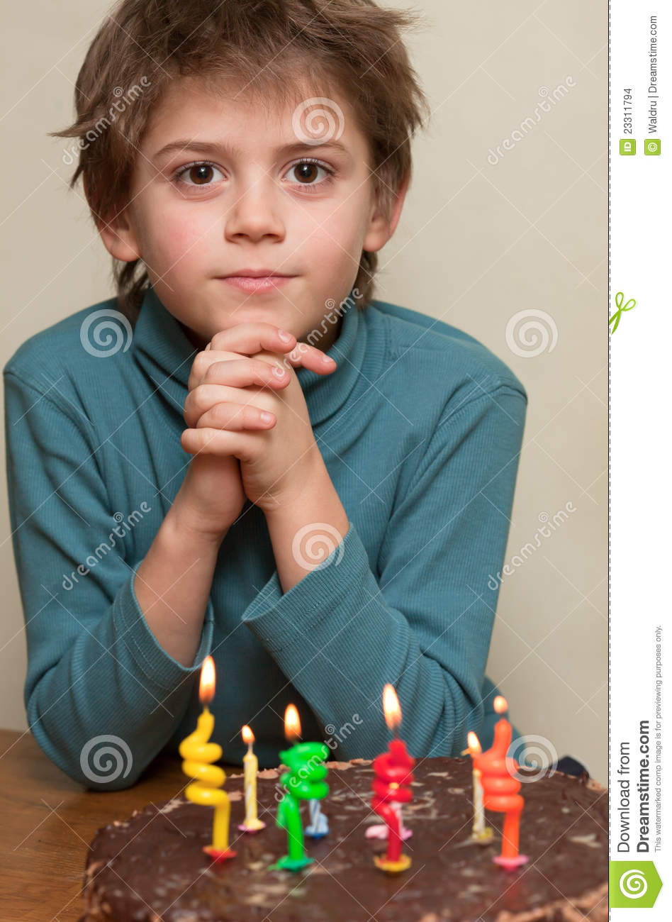 Cute Boy At Birthday Cake Stock Images Image 23311794