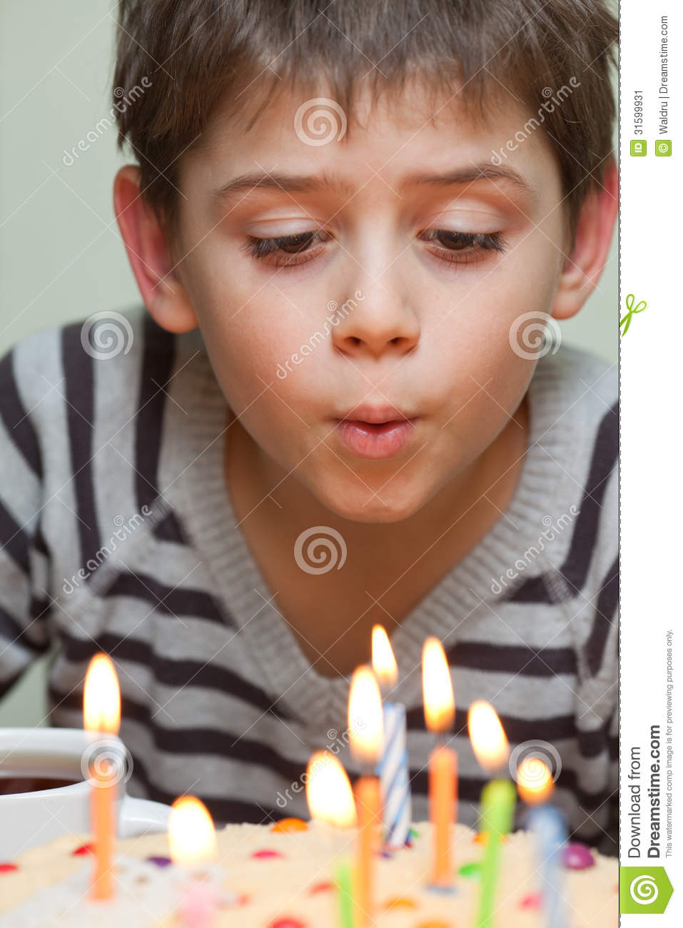 Cute Boy At Birthday Cake Stock Image Image 31599931