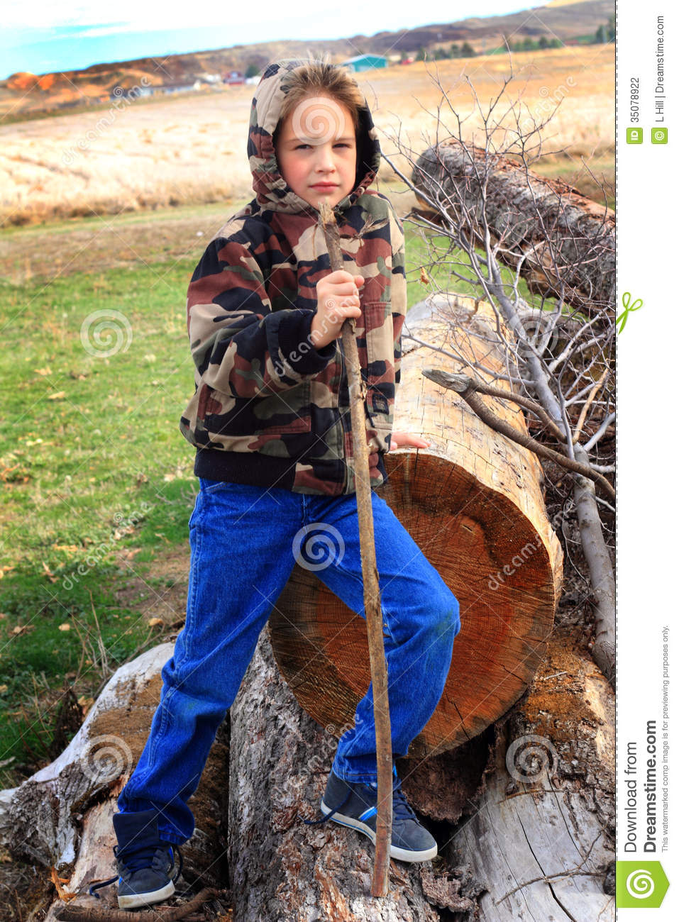 Cute Boy In Camo Hoodie Stock Photo Image Of Bark Coat