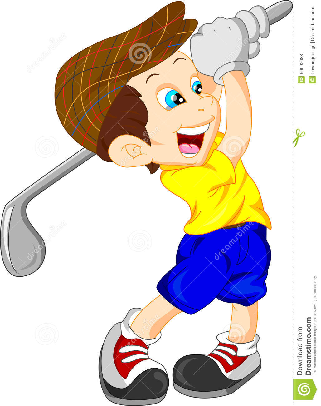 Cute Boy Cartoon Golf Player Stock Vector Image 50092088