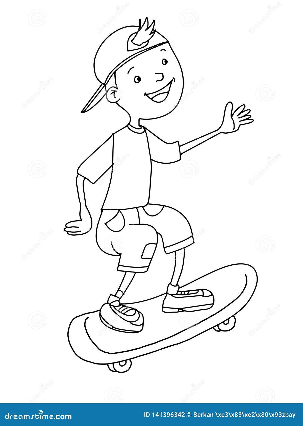 Cute Boy Cartoon Illustration Skating Drawing Line ...