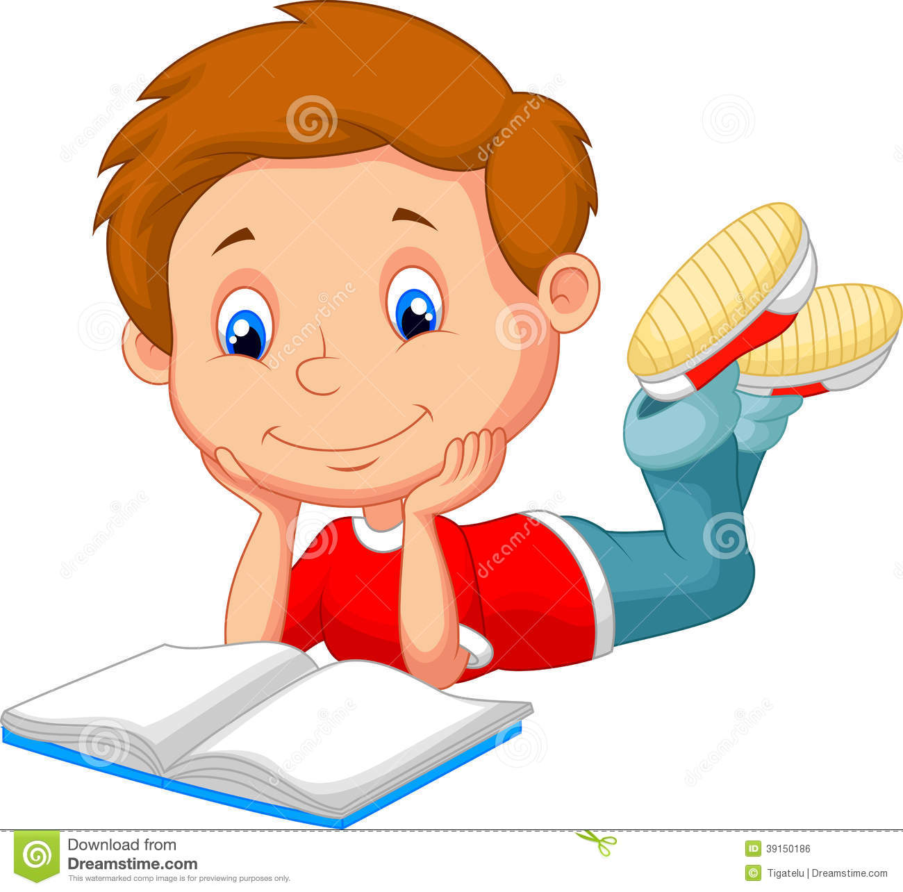 Cute Boy Cartoon Reading Book Stock Vector - Image: 39150186