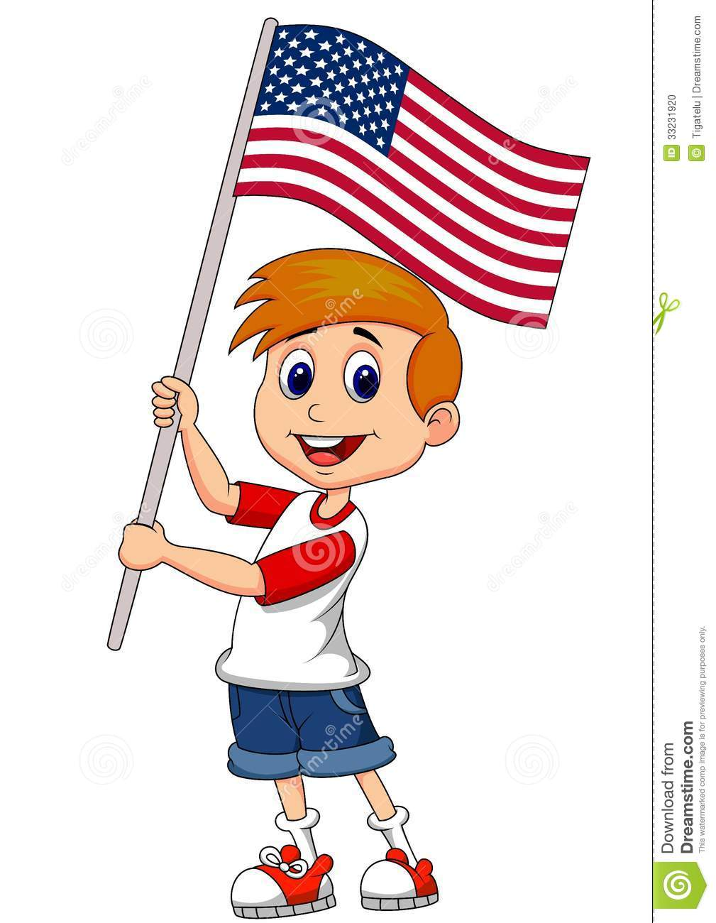 cute boy cartoon waving with american flag stock photo American Flag Background Clip Art Animation Waving Flag Clip Art
