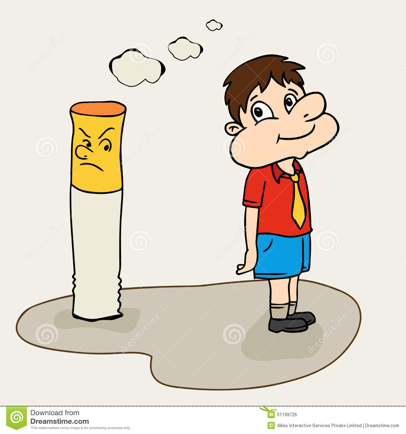 cute boy with cigarette for no smoking day stock