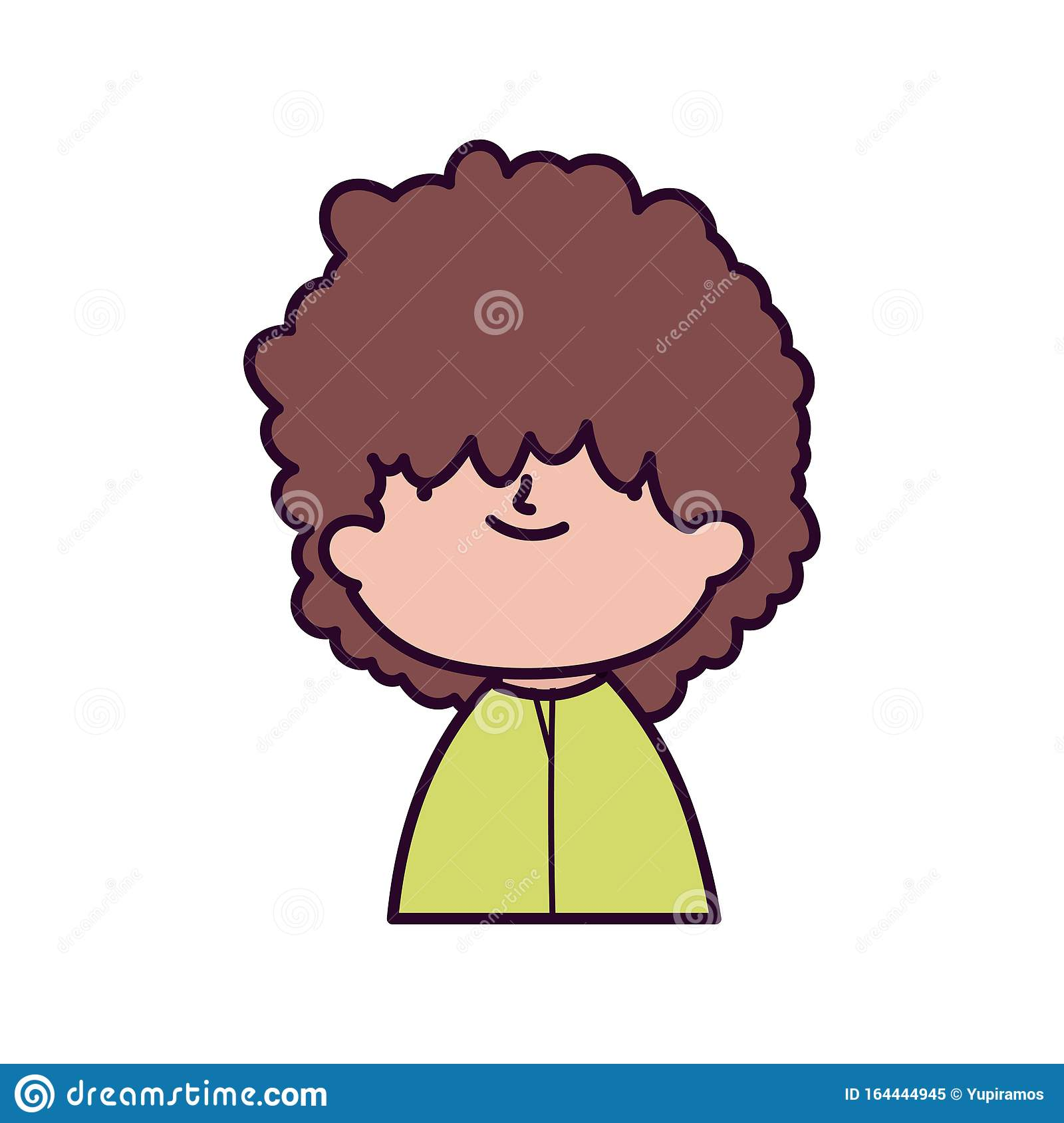 Cute Boy With Curly Hair Portrait On White Background Stock Vector Illustration Of Child Smile 164444945